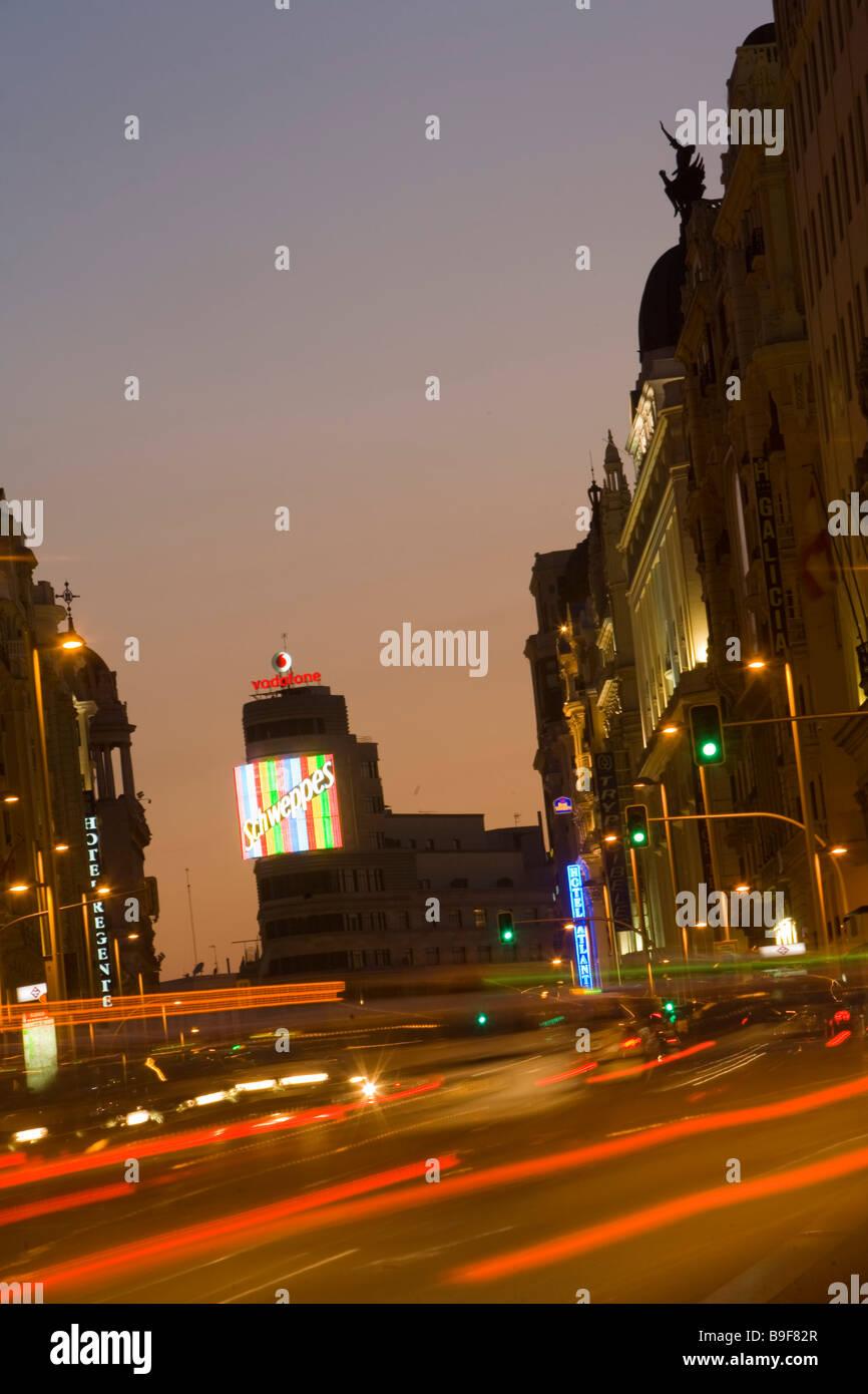 Spagna Madrid Gran Via Immagini Stock