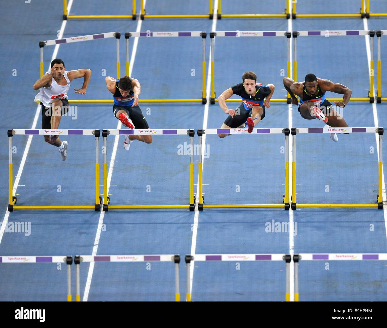 60 m ostacoli, uomini, da sinistra: Darien Garfield FRA, Erik Balnuweit GER, Evgeniy Borisov RUS, David Oiver USA, Immagini Stock