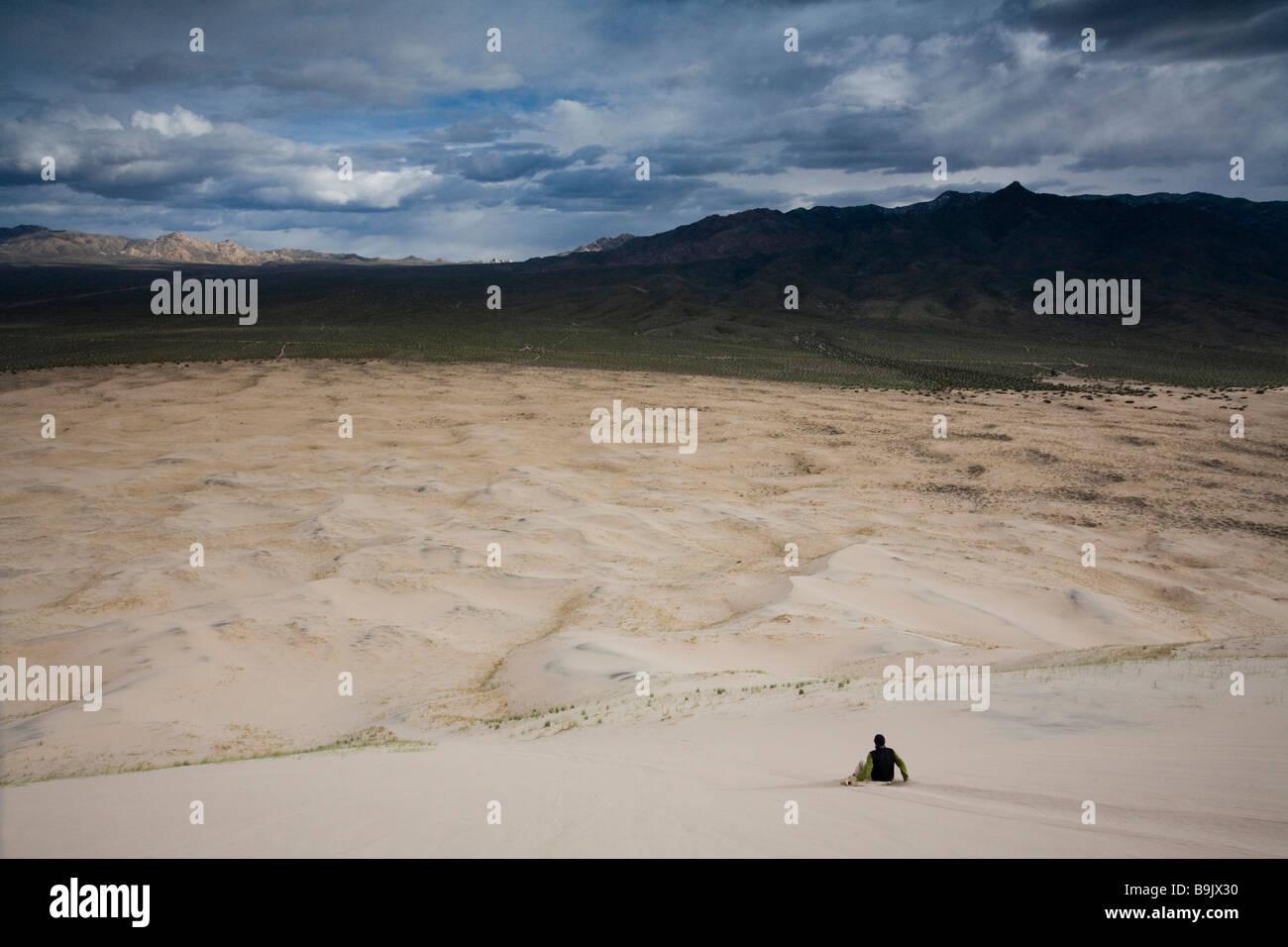 Un uomo scorre giù per le dune di sabbia nel deserto di Mojave, California. Immagini Stock