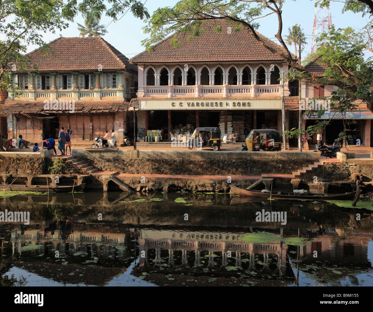 India Kerala Alappuzha Alleppey a sud di Canal Street scene Immagini Stock