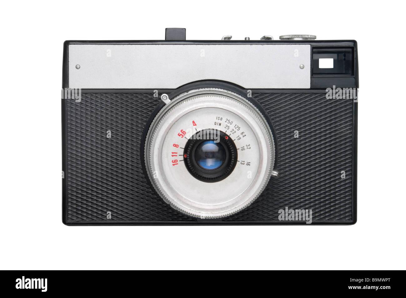 Telecamera cinematografica isolato su bianco Immagini Stock