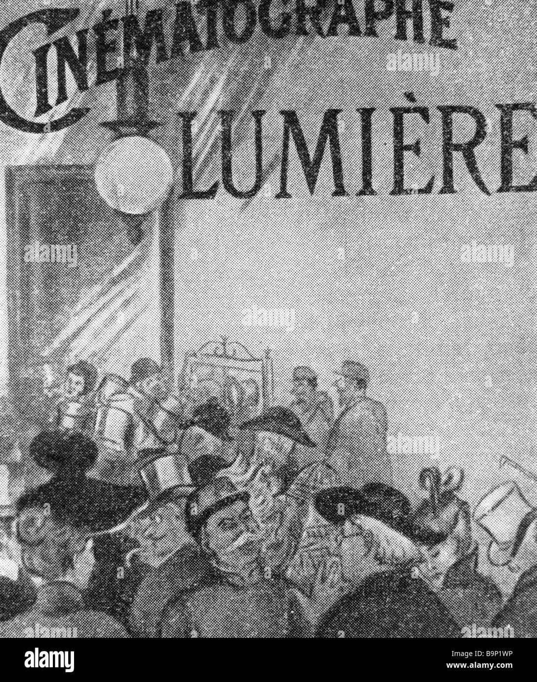 Il primo annuncio del cinematografo Lumier Immagini Stock