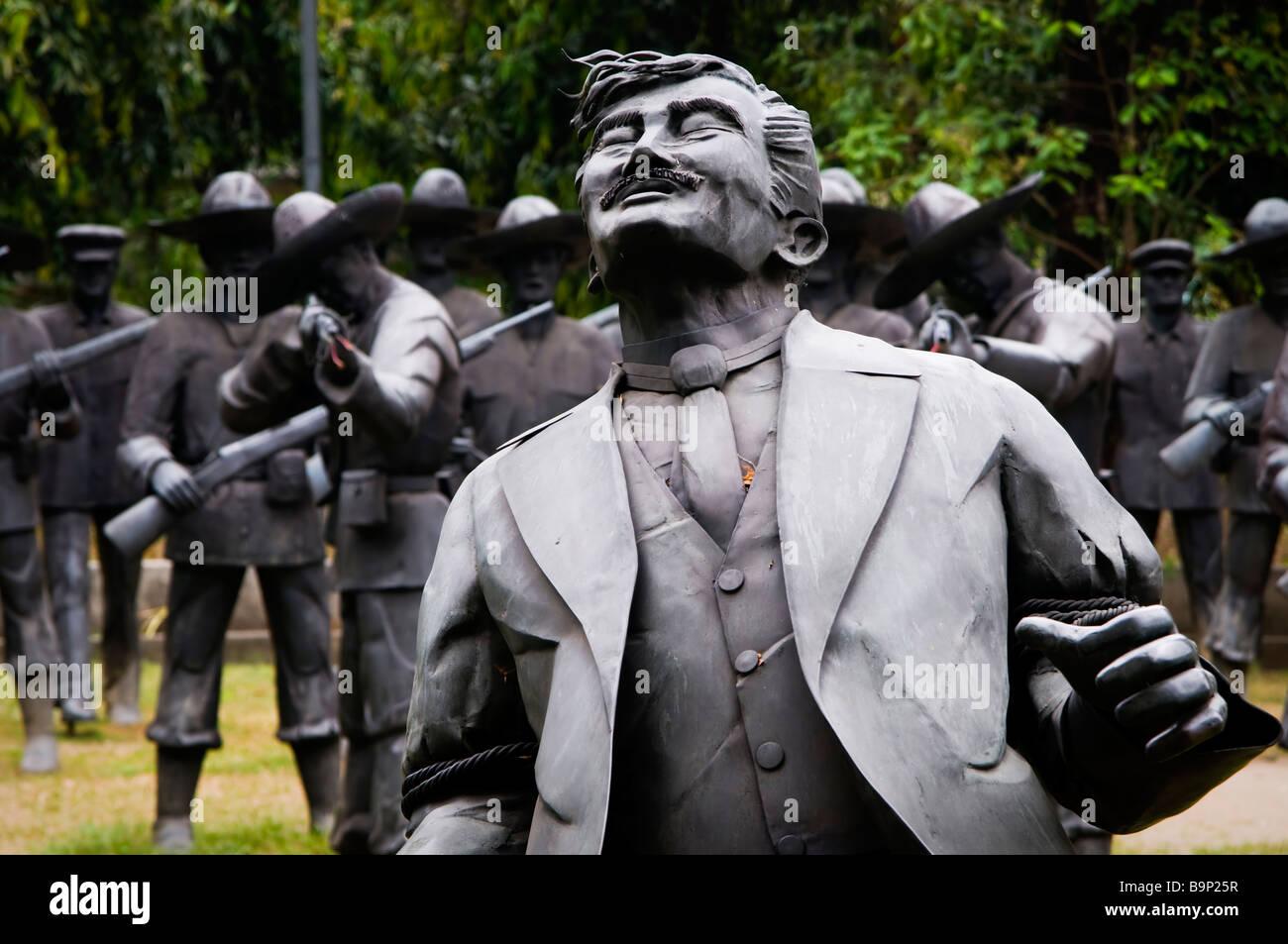 Statue in sito di Rizal dell'esecuzione. Immagini Stock