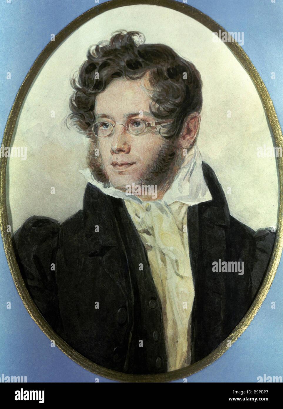 Pyotr Sokolov ritratto ad acquerello del XIX secolo poeta russo Pyotr Vyazemsky Immagini Stock