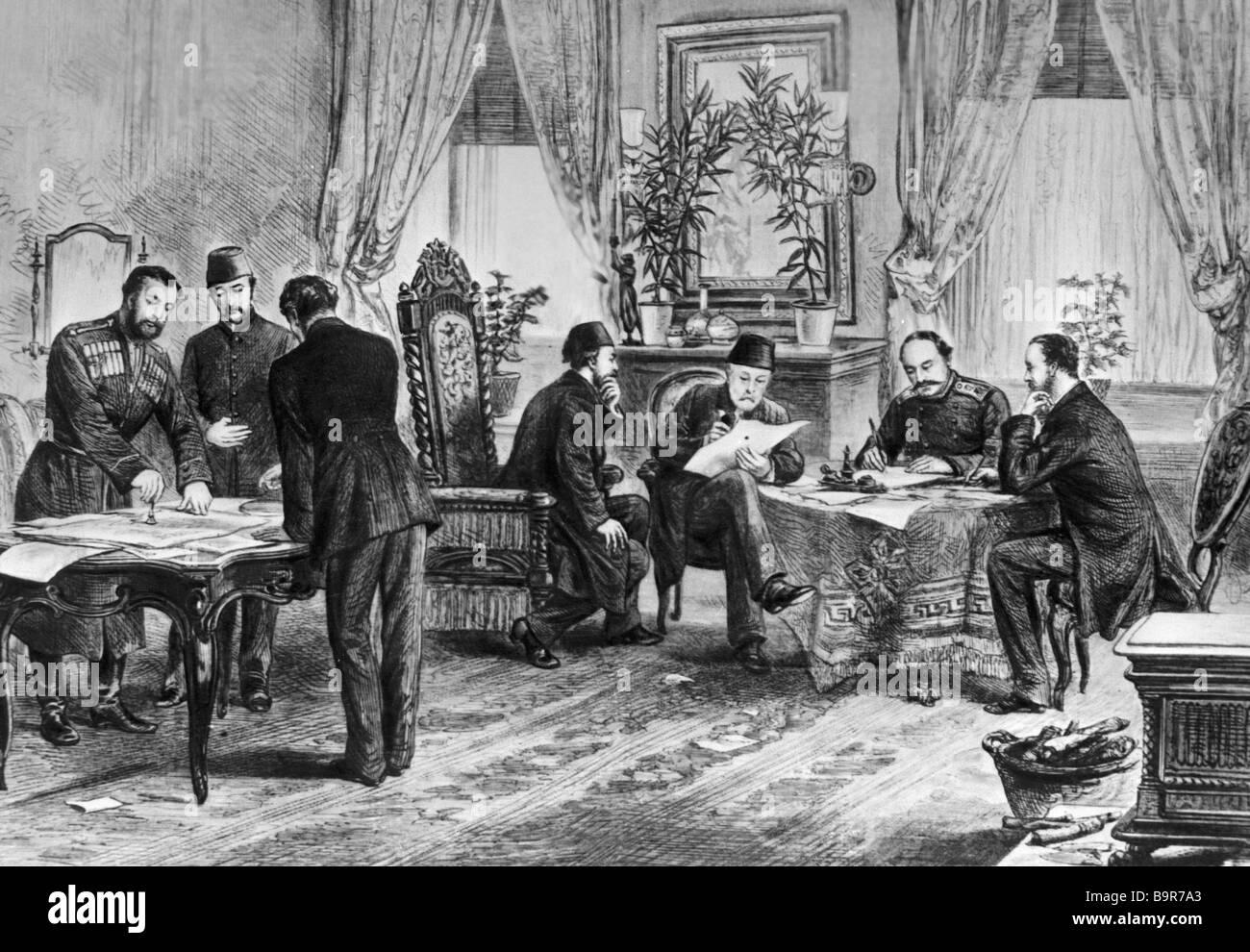 Artista sconosciuto firma il Russo turco trattato di pace di San Stefano 1878 Stampare Immagini Stock
