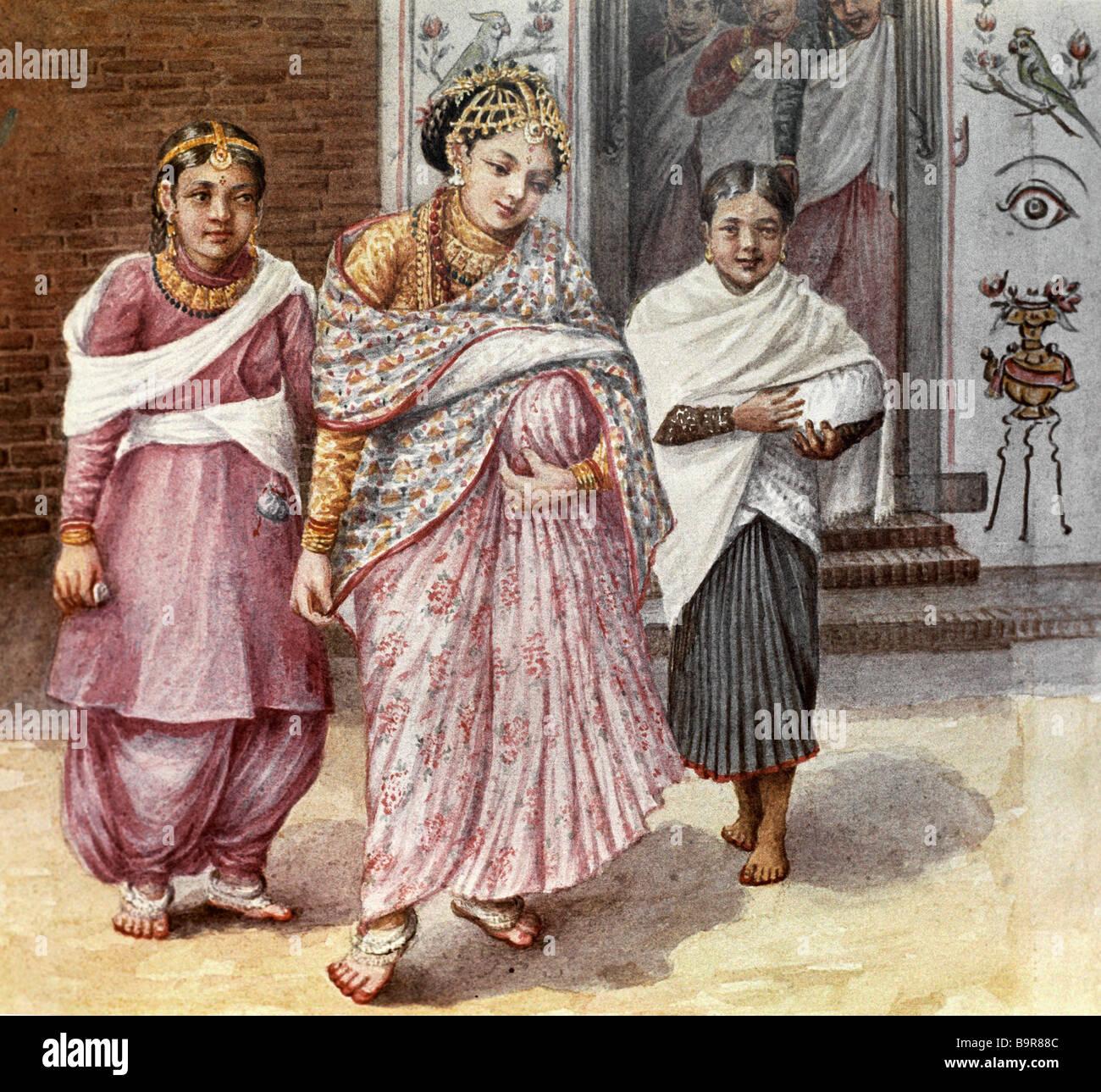 La riproduzione di acquerelli di donne del Nepal sul display in mostra i maestri del Nepal a Mosca Immagini Stock