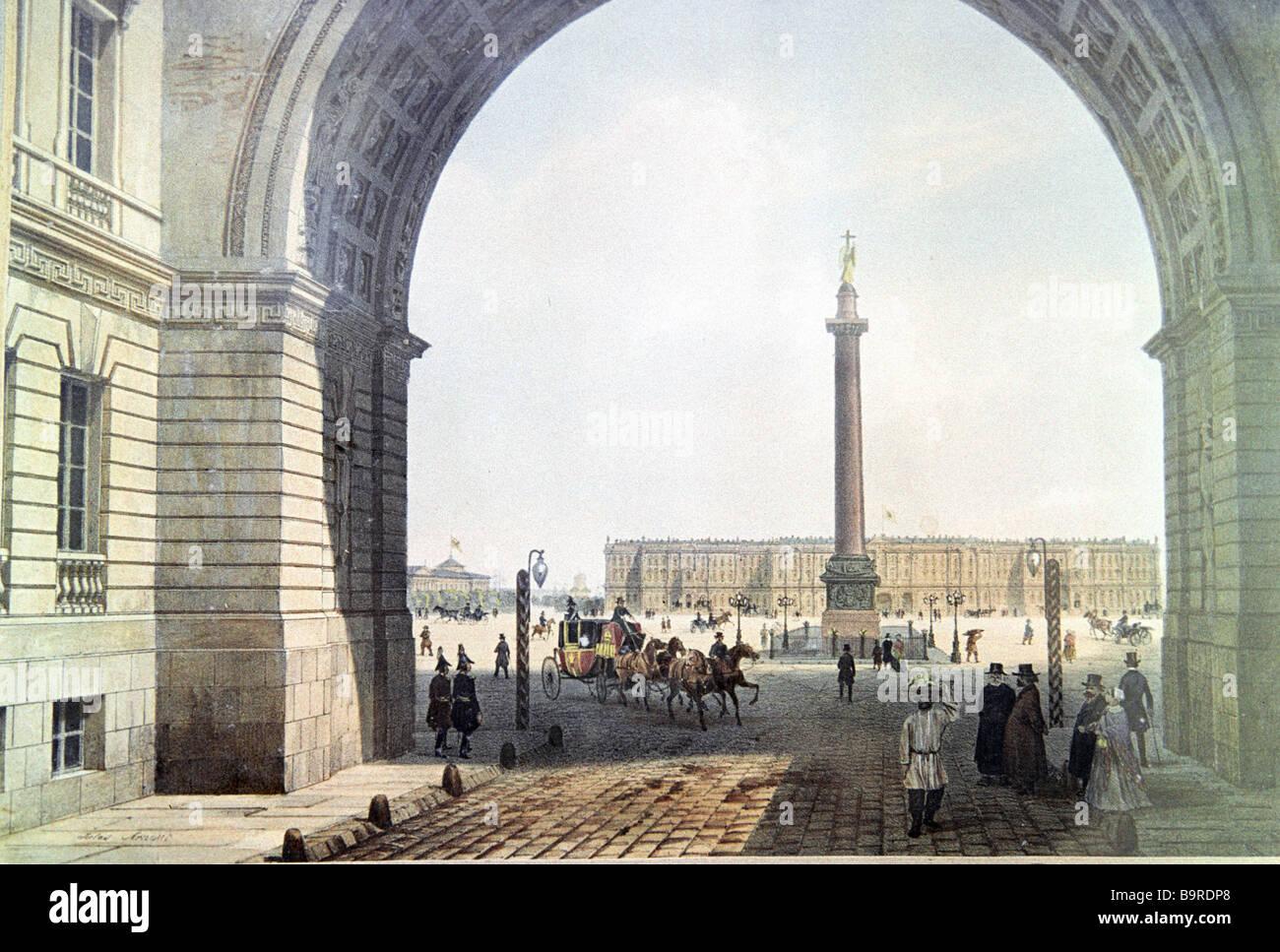 Pietroburgo Arco del generale dello staff di una litografia dipinta da Gilles Arnoux riproduzione 1840 Immagini Stock