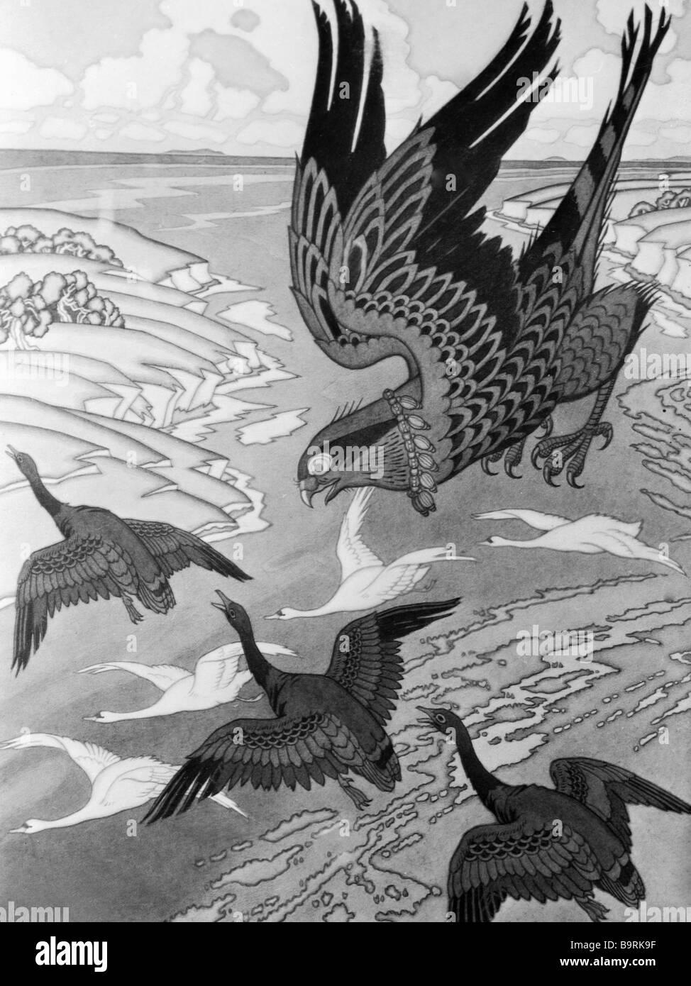 Riproduzione di un disegno da Ivan Yakovlevich Bilibin all'antica leggenda russa circa Mikula Selyaninovich Immagini Stock