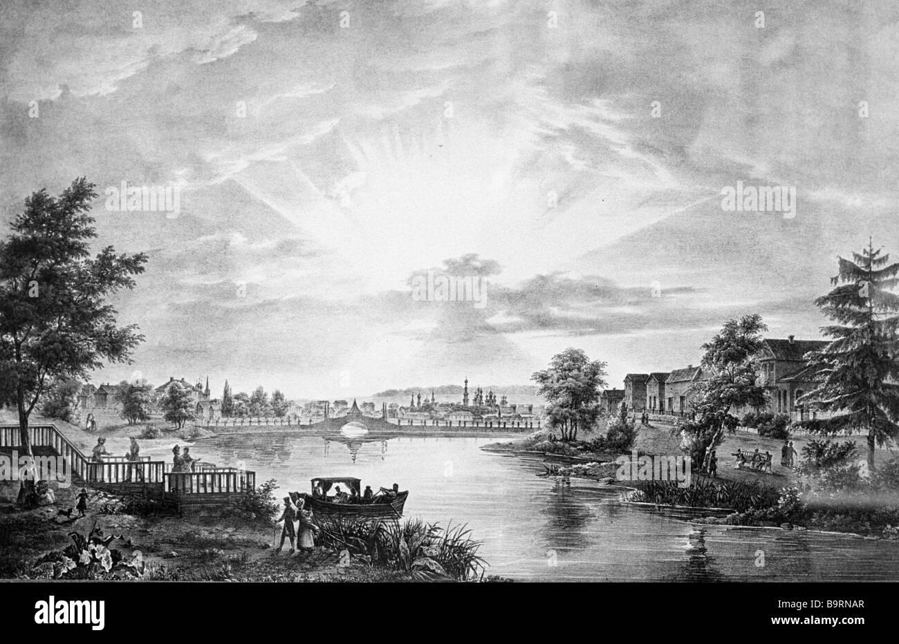 Mosca Presnya stagni litografia da Antoine Cadol riproduzione 1825 Immagini Stock