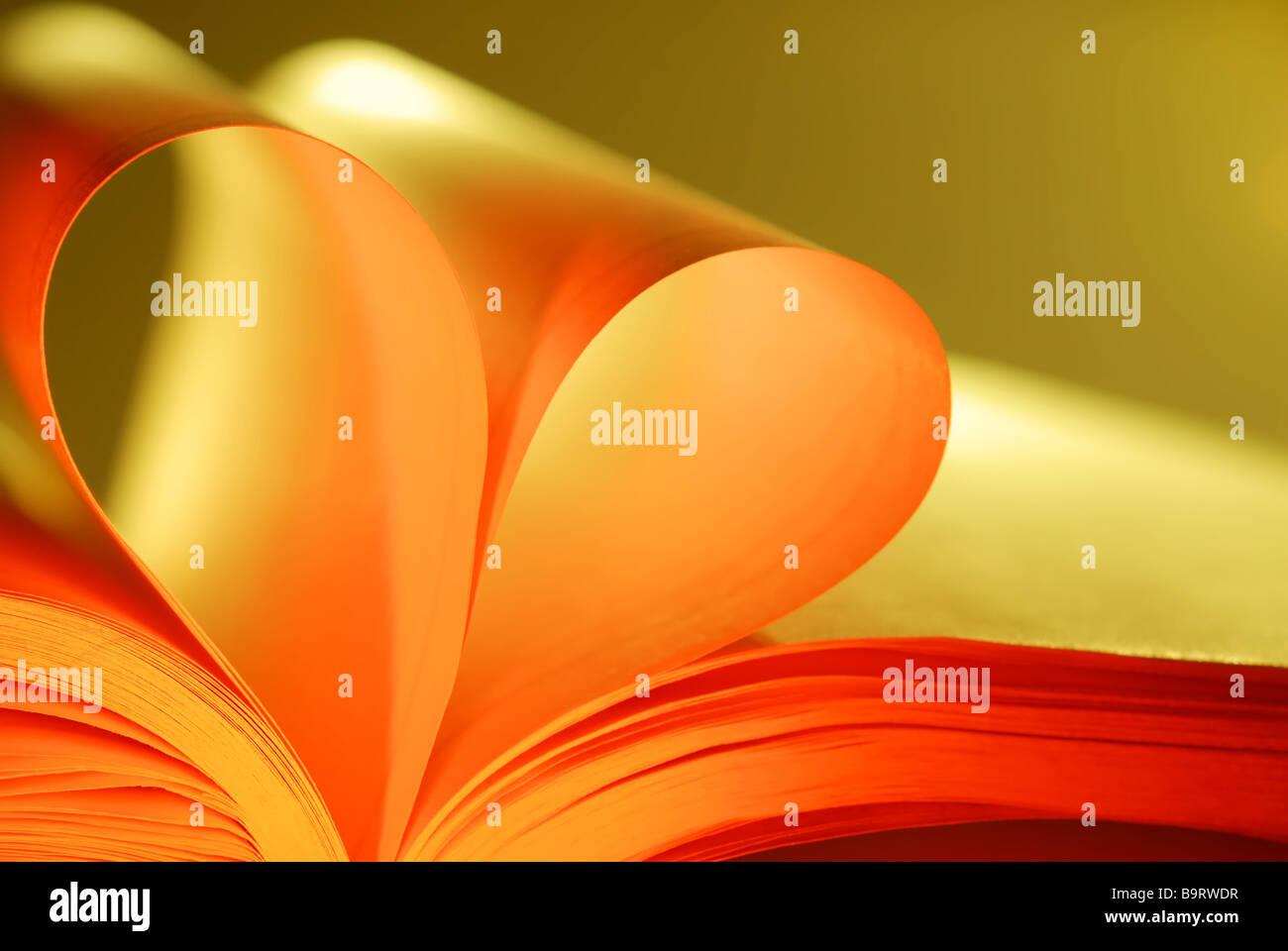 Amore forma di cuore con le pagine di un libro Immagini Stock