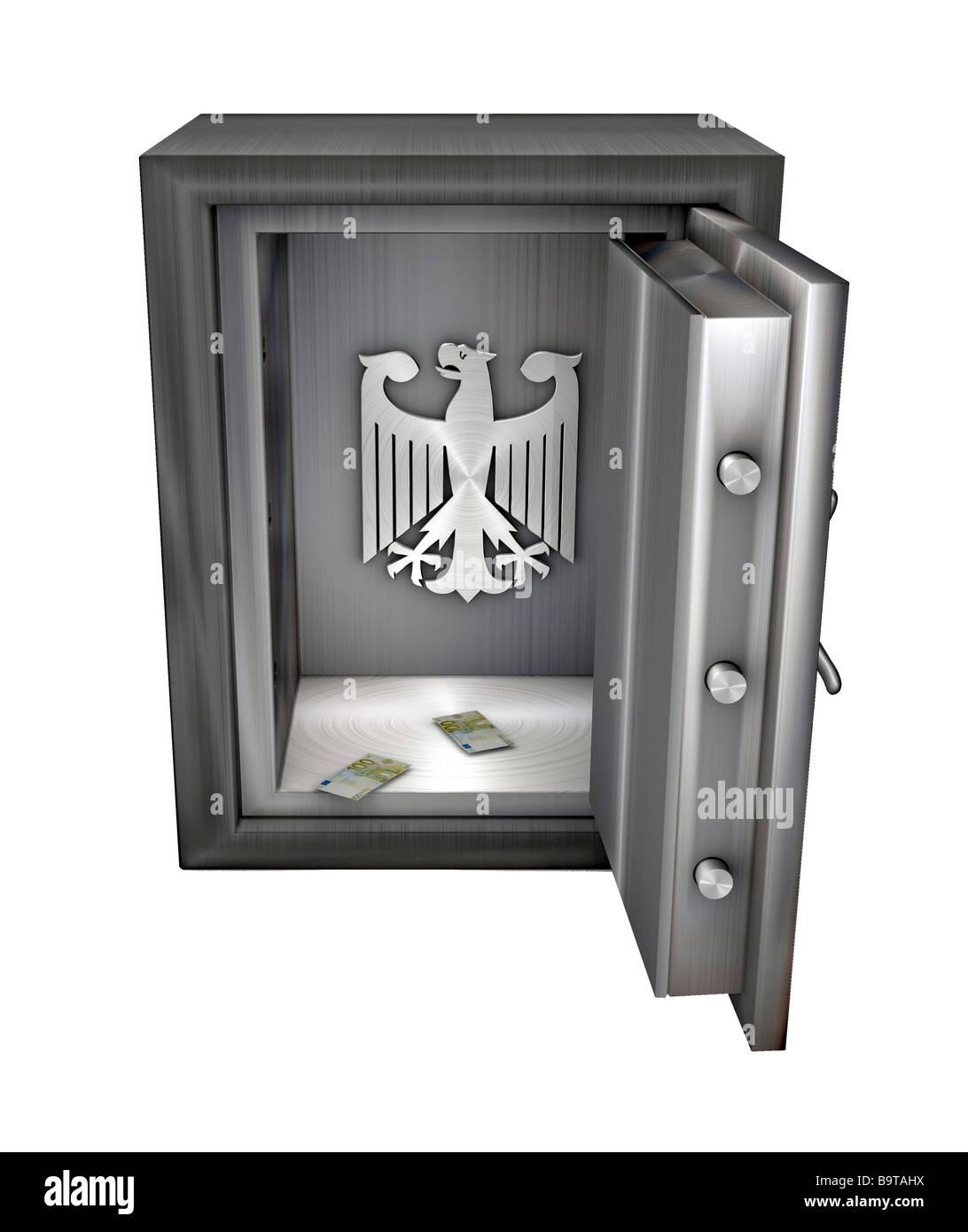 Svuotato di sicuro con aquila federale simbolo dello stato tedesco è fallita Immagini Stock