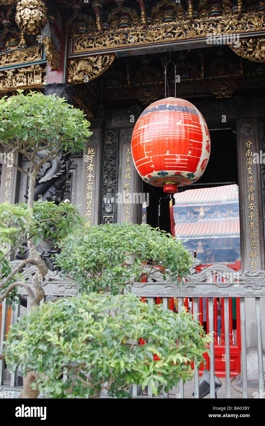 Lanterna appesa al tempio Longshan, Taipei, Taiwan Immagini Stock