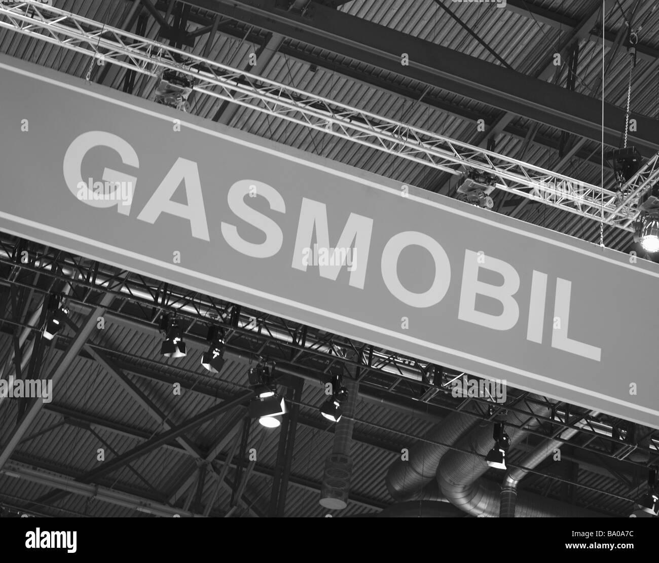 Signage pubblicità a zero emissioni, veicolo ibrido del carburante alternativo Immagini Stock