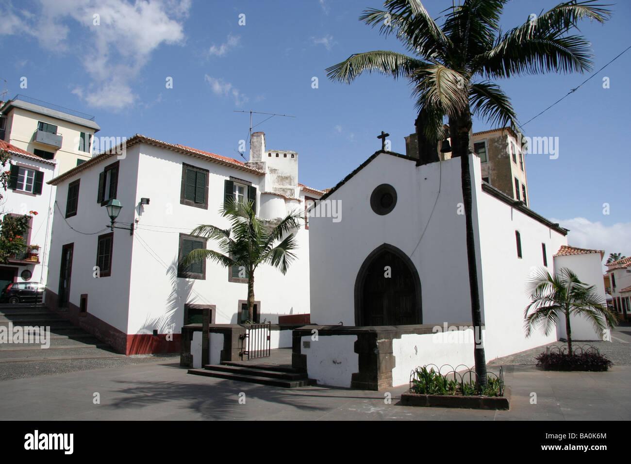 Una cappella Capela do Corpo nel quartiere del centro storico di Funchal Madeira Zona Velha Immagini Stock