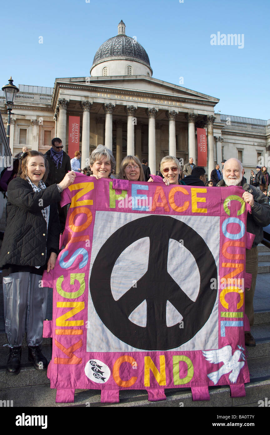 Sostenitori al rally in Trafalgar Square. Immagini Stock