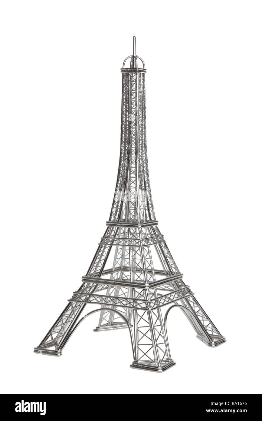Torre Eiffel modello di filo su sfondo bianco Immagini Stock