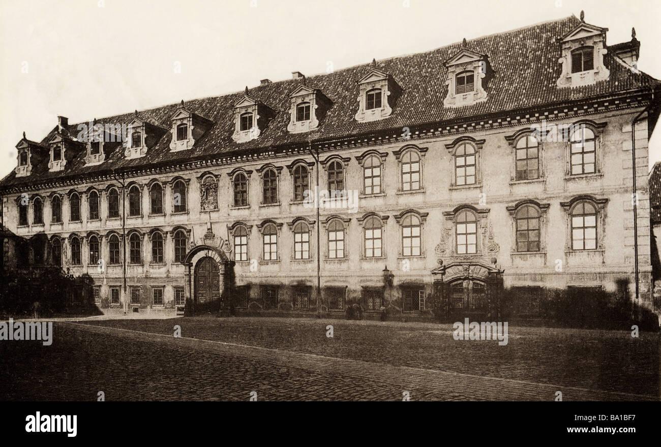 Geografia / viaggi, Cechia, Praga, Palazzo Wallenstein, (Valdstejnsky palac), vista esterna, 1901, Additional-Rights Immagini Stock