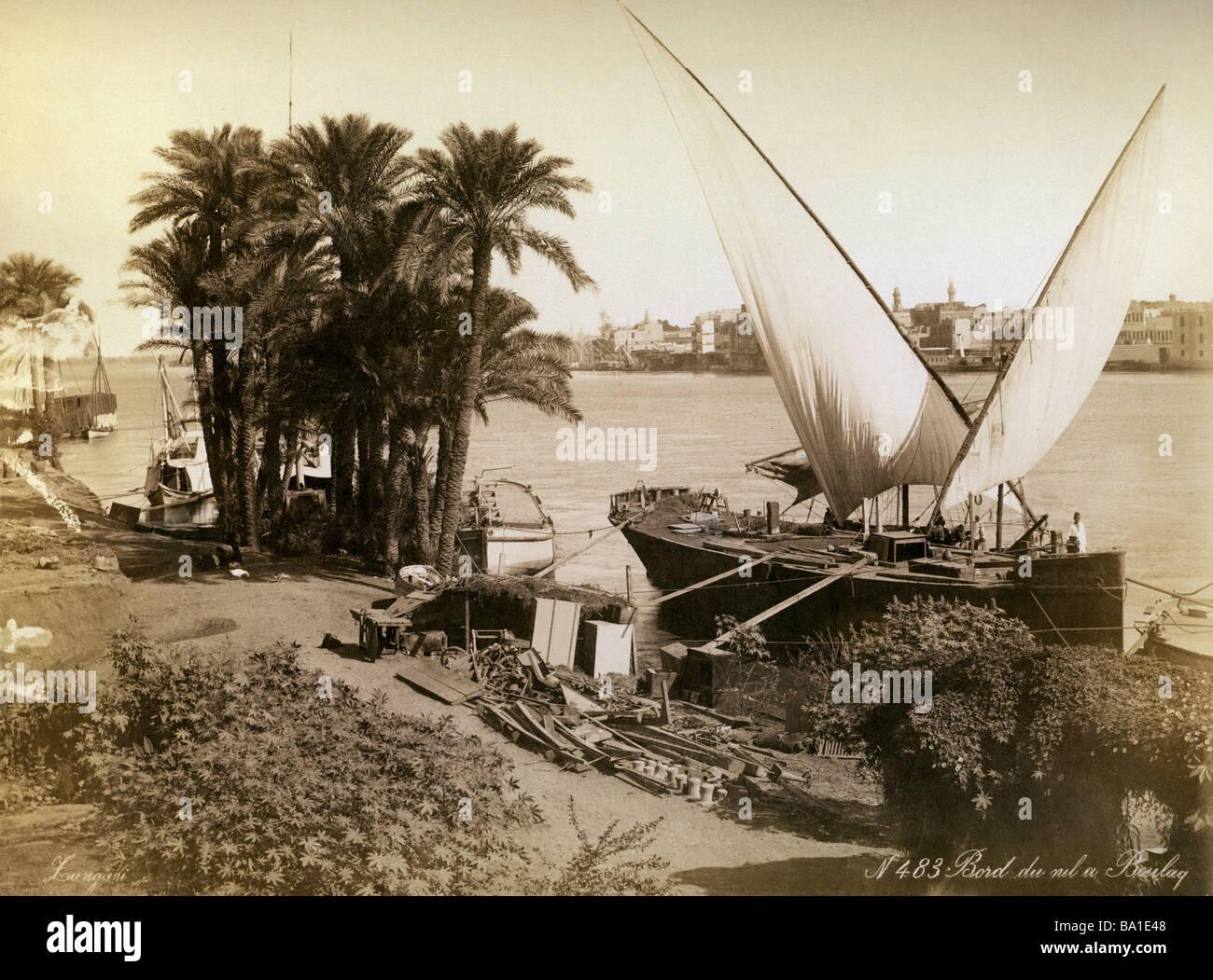Geografia / viaggi, Egitto, al Cairo, Boulak, il porto di attracco delle barche, fotografia di Langani, circa 1890, Immagini Stock