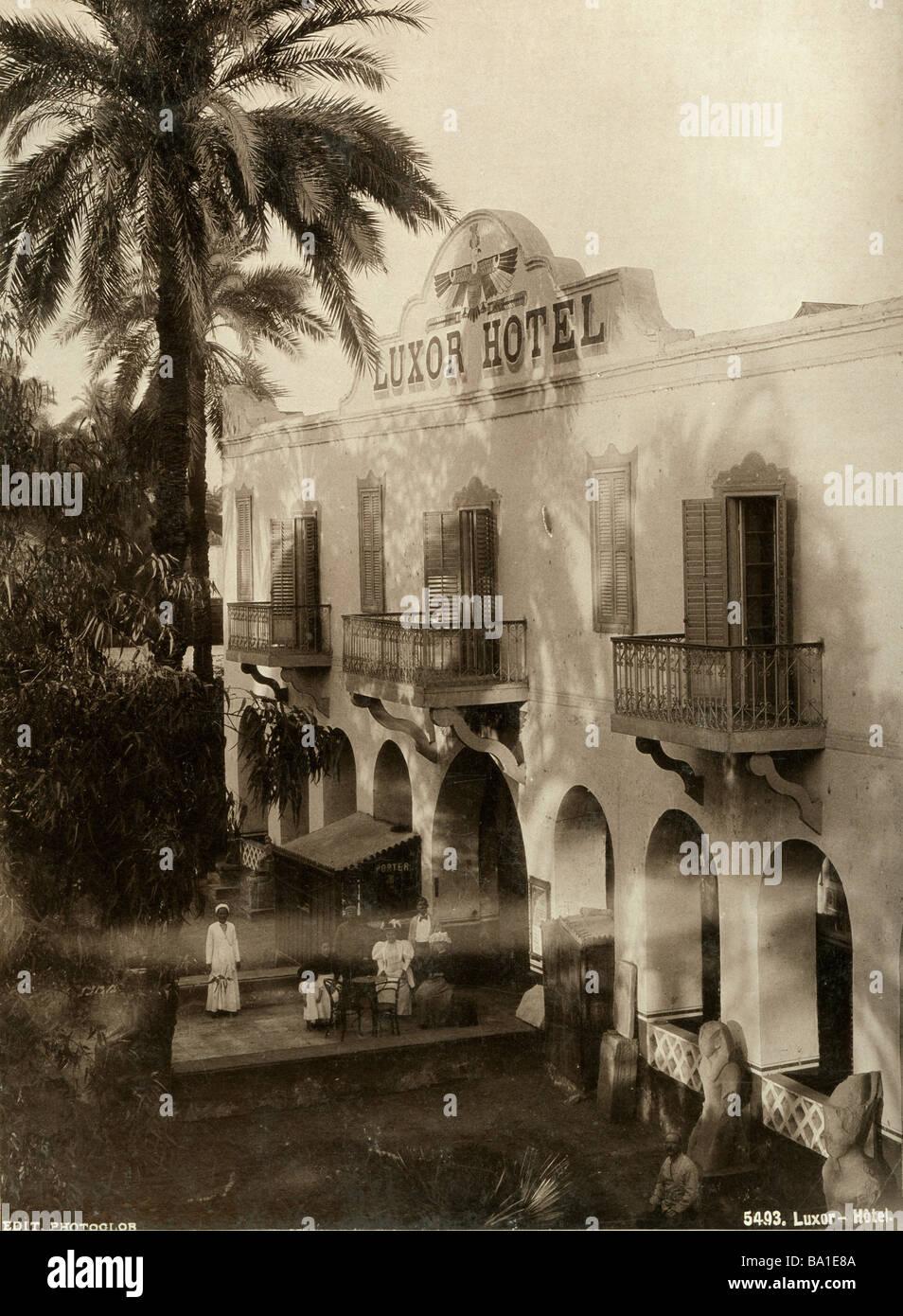 Geografia / viaggi, Egitto, Luxor, gastronomia, Hotel Luxor, vista esterna, ingresso, Edition Photoglob, um 1890, Immagini Stock