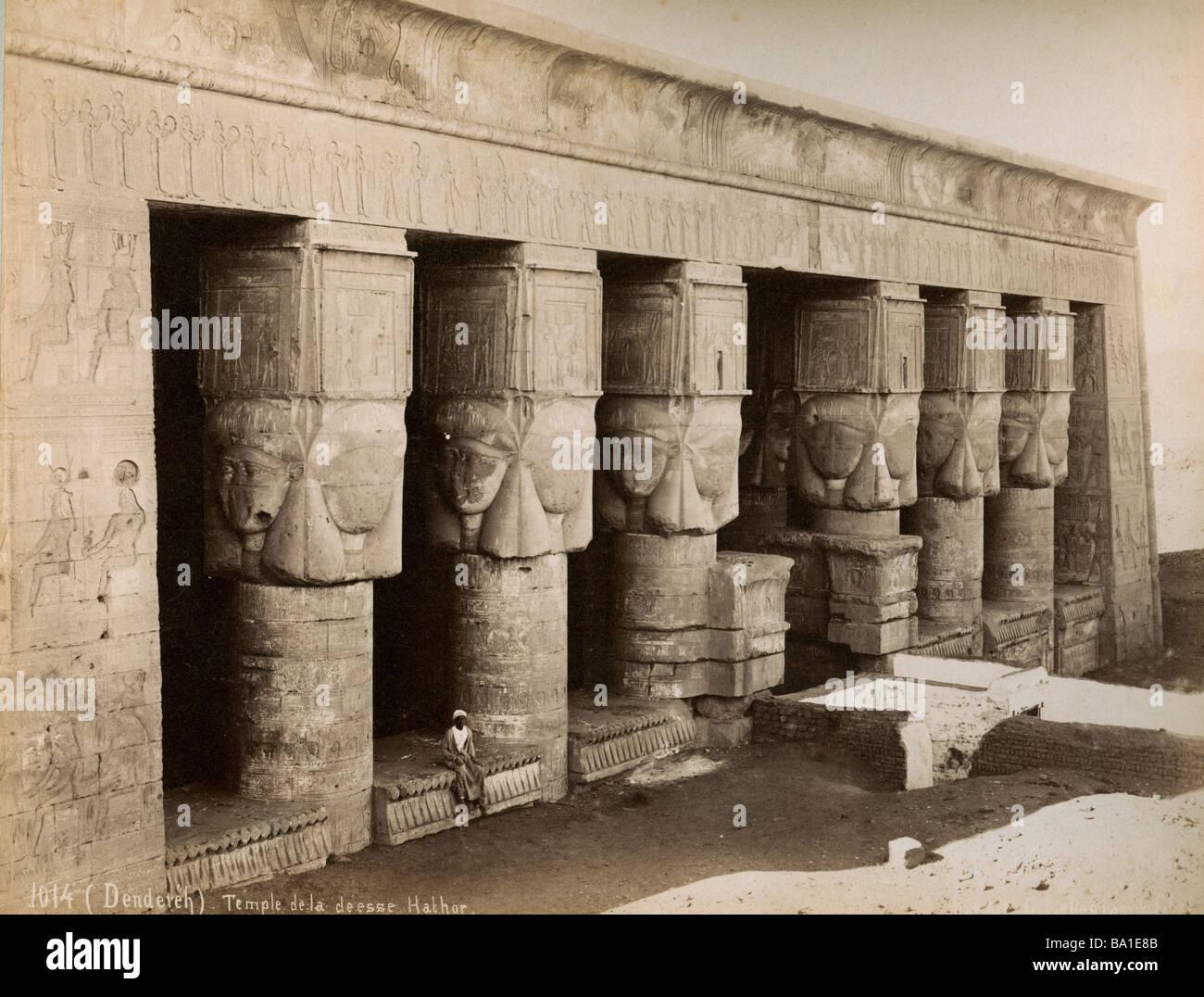 Geografia / viaggi, Egitto, Dendera, tempio di Hathor, visualizzare foto di Gabriel Lekegian e Co., circa 1890, Immagini Stock