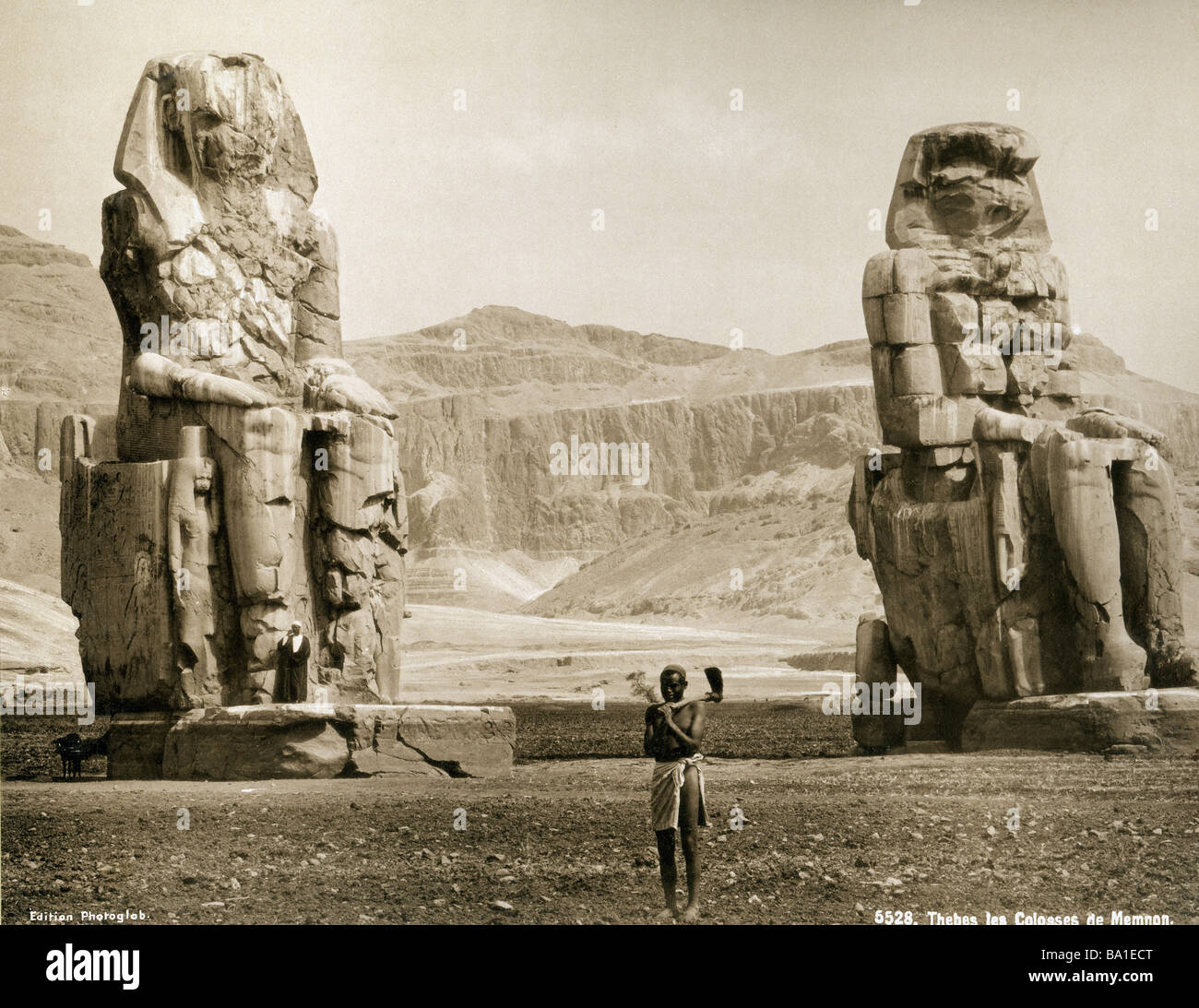 Geografia / viaggi, Egitto, Tebe West Bank, Colosso di Memnon, statue di re Amenofi III (circa 1402 - 1364 BC, XVIII Immagini Stock