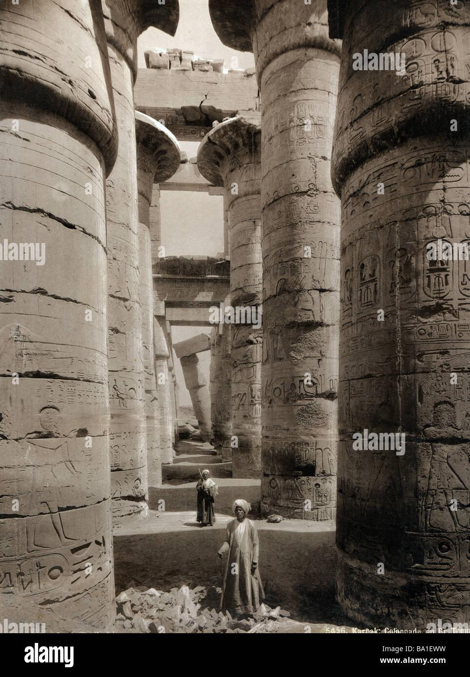 Geografia / viaggi, Egitto, Tebe East Bank, Karnak, il tempio di Amon, Hypostyle Hall, Edition Schroeder et Cie., Immagini Stock