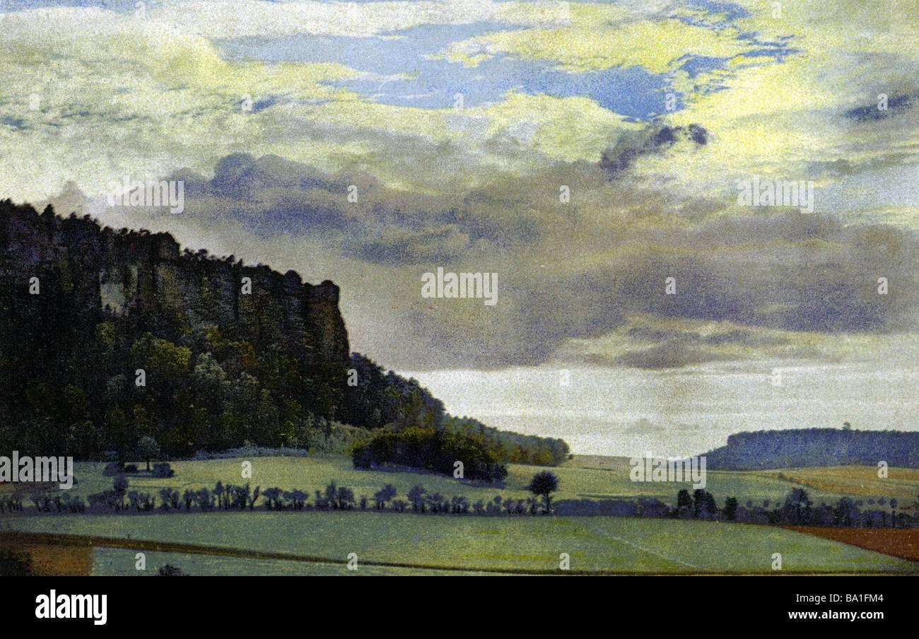 Geografia / viaggi, Germania, paesaggio, Vogtland, visualizzare cartolina, photochrome, stampato in Oelsnitz, 2.4.1928, Immagini Stock