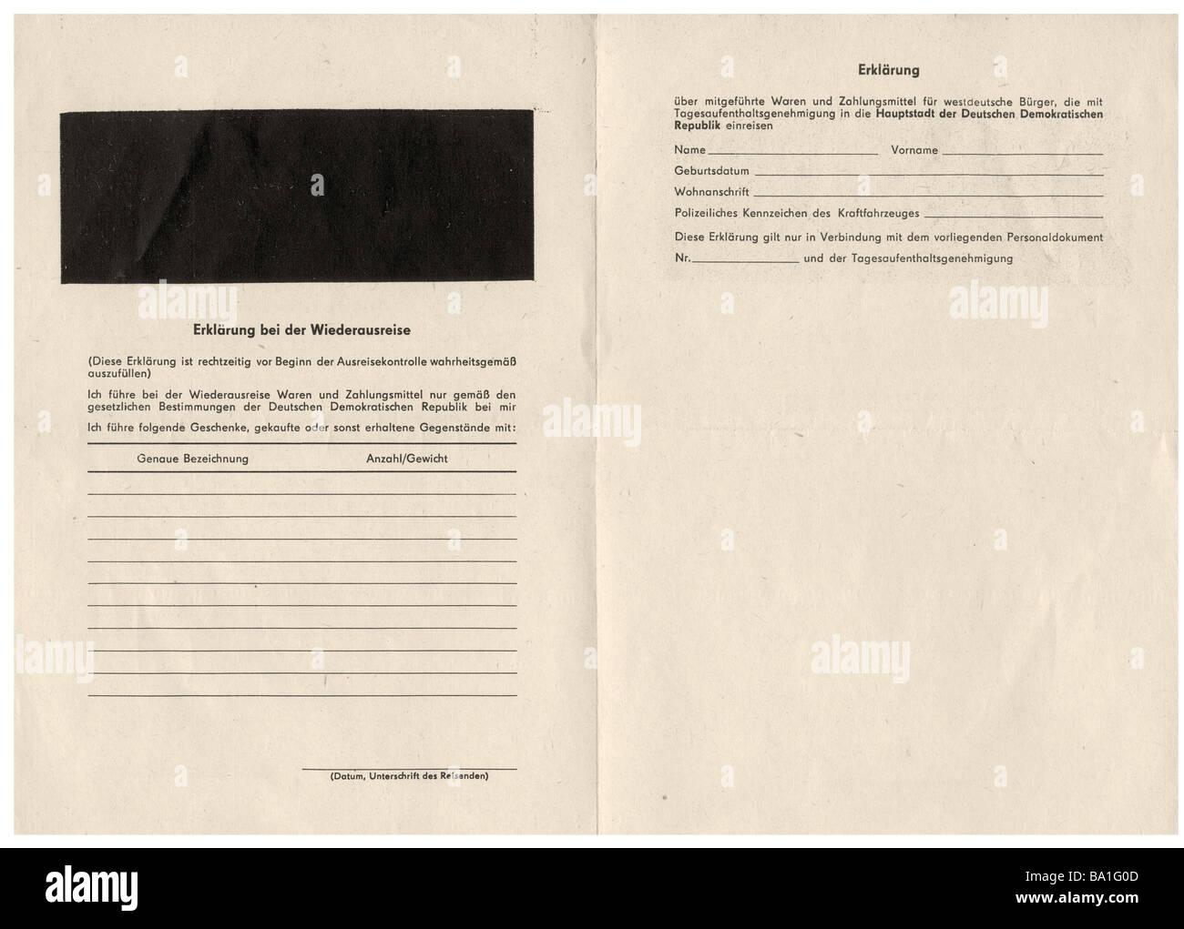 Geografia / viaggi, Germania, Germania orientale, dokuments, dichiarazione per la ri-uscire dalla Repubblica Democratica Immagini Stock