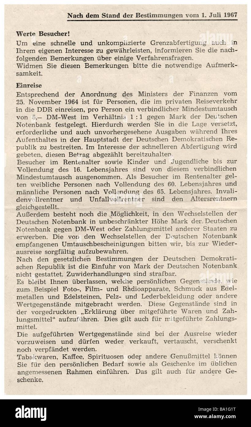 Geografia / viaggi, Germania, Germania orientale, dokuments, termini per l'entrata nella Repubblica Democratica Immagini Stock