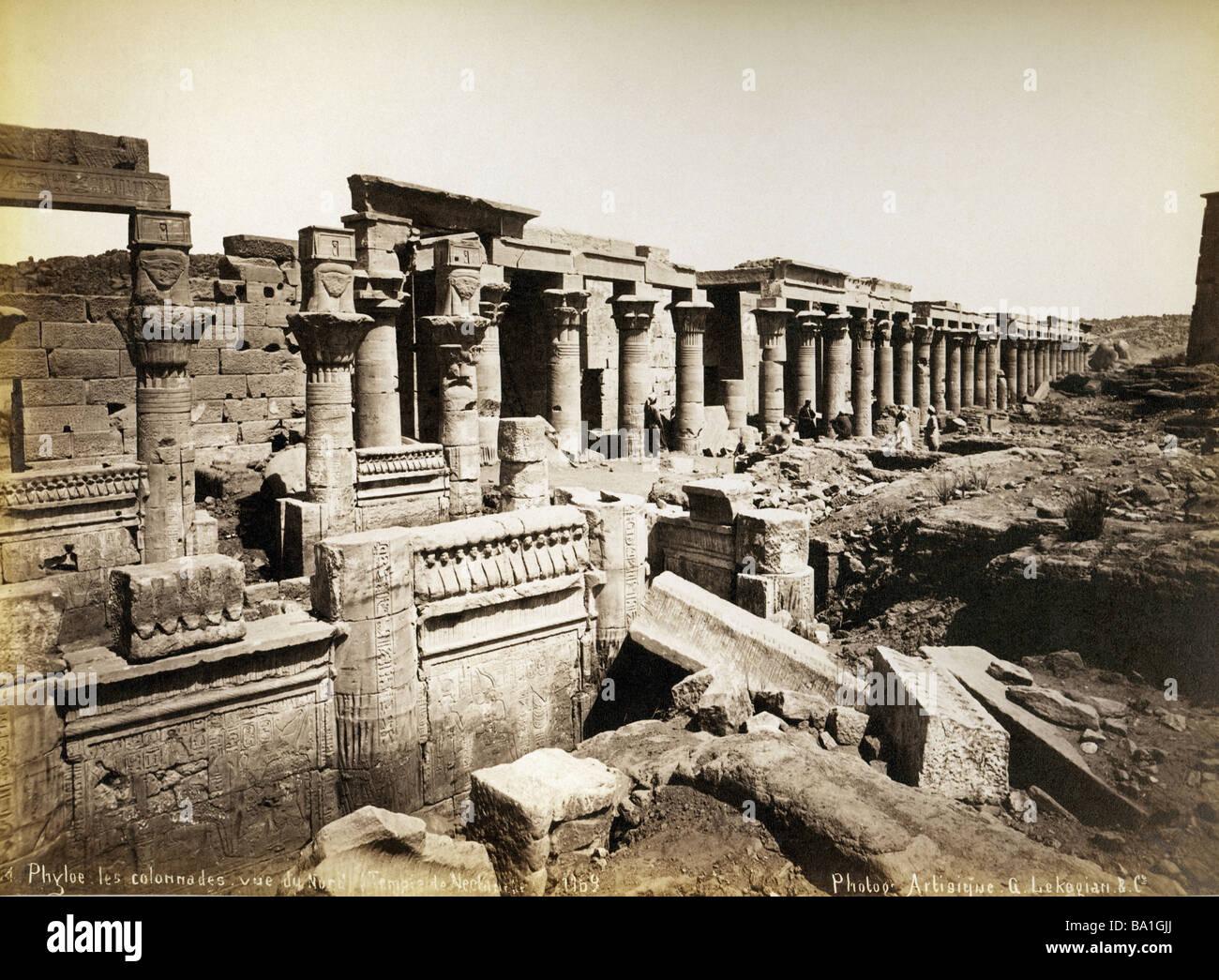 Geografia / viaggi, Egitto, Philae, tempio di Iside, vista da nord, fotografia di Gabriel Lekegian e Co., circa Immagini Stock