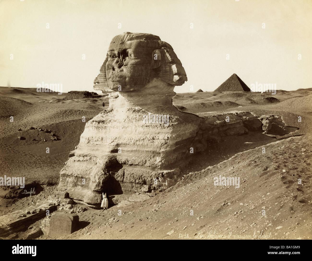 Geografia / viaggi, Egitto, Giza, Sphinx, fotografia di Felix Bonfils (1831 - 1885), Africa del XIX secolo, la storica, Immagini Stock