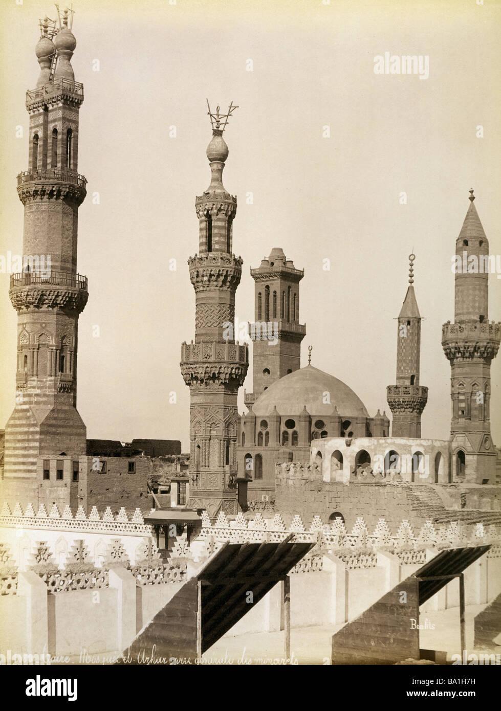 Geografia / viaggi, Egitto, al Cairo, Al-Azhar moschea, vista esterna, fotografia di Felix Bonfils, circa 1880, Immagini Stock