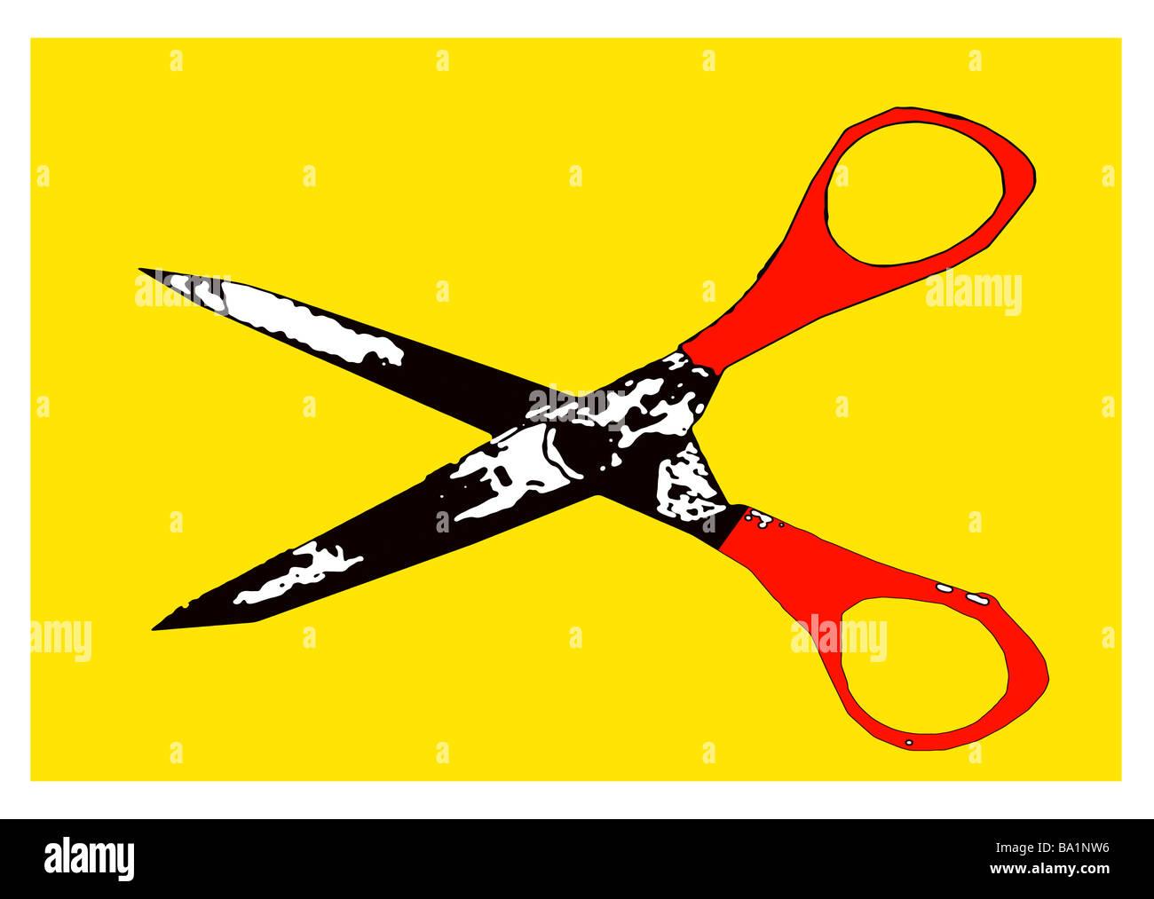 Illustrazione di un paio di forbici Immagini Stock