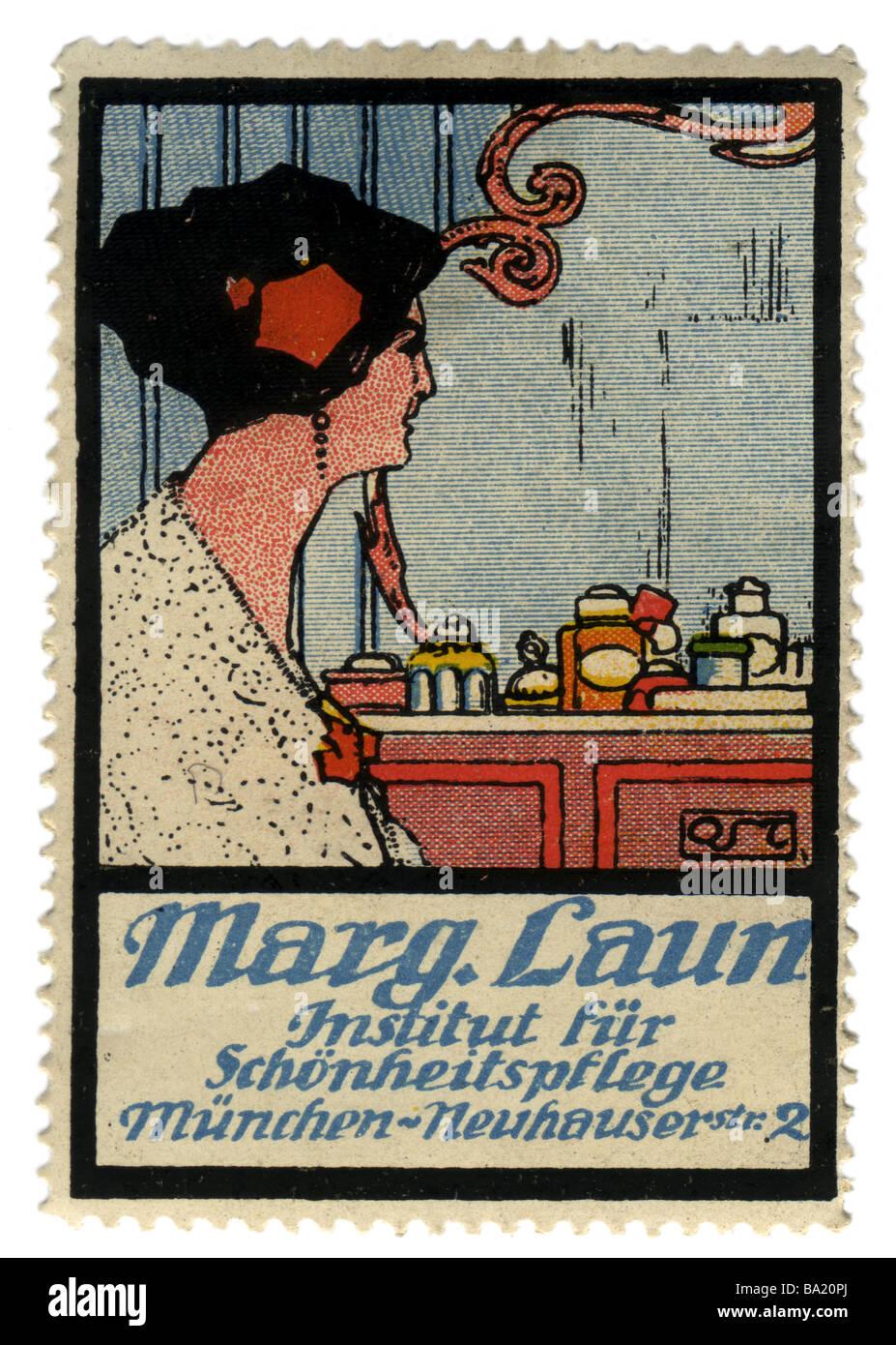 Pubblicità, timbri, marg. Laun, salone di bellezza, Germania, circa 1910, Additional-Rights-giochi-NA Immagini Stock