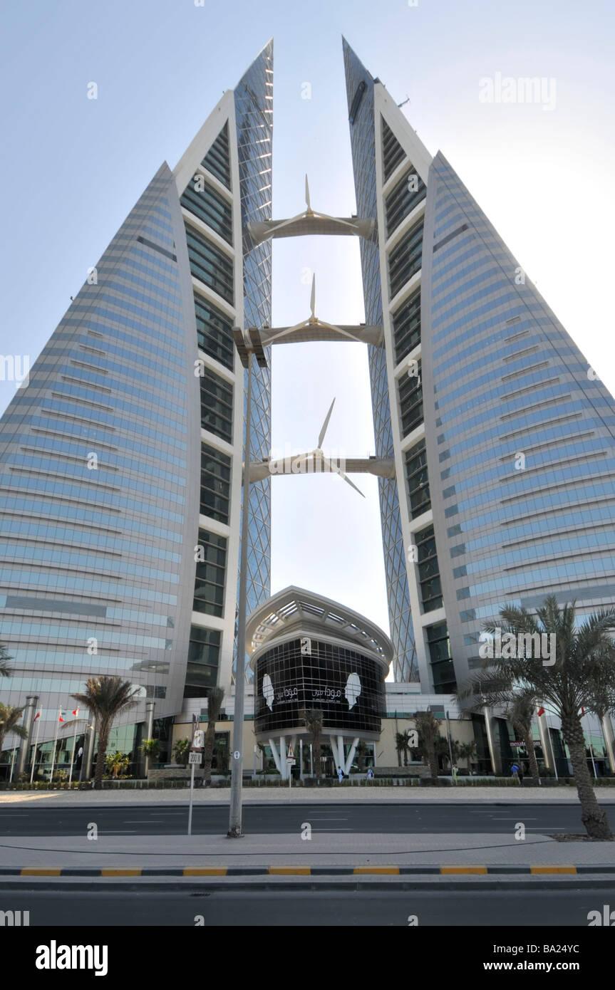 Manama Bahrain World Trade Center Twin towers con turbine eoliche Immagini Stock