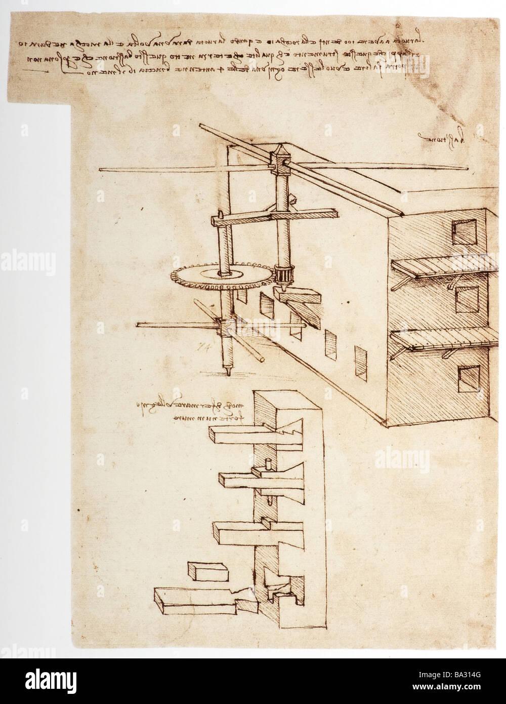 Macchina per impedire la fortezza di mura di essere scalato da Leonardo da Vinci 1480 penna e inchiostro Immagini Stock
