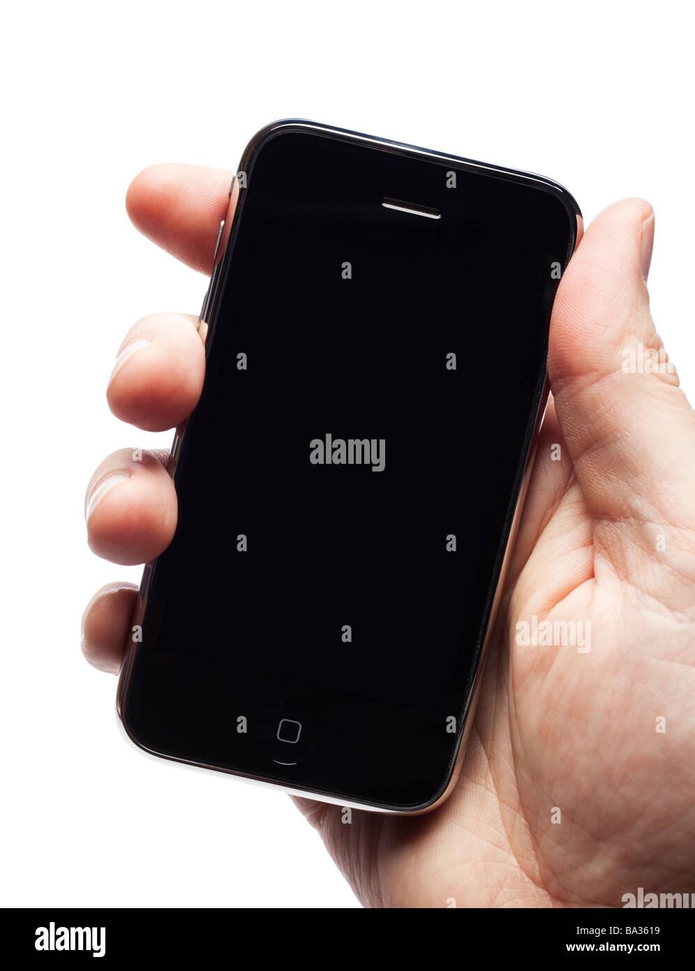 Maschio lato tiene iPhone mostra una schermata vuota Foto Stock