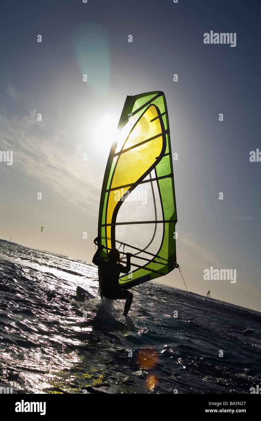 Windsurf in azione a Surfer's punto, conosciuto localmente come Margaret's. Fiume Margaret, Australia occidentale, Immagini Stock