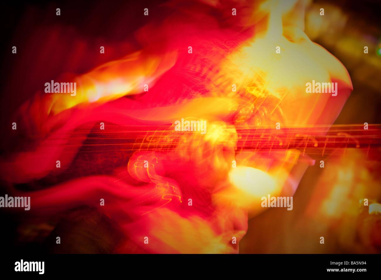 Generico chitarrista rock immagine, con motion blur Immagini Stock