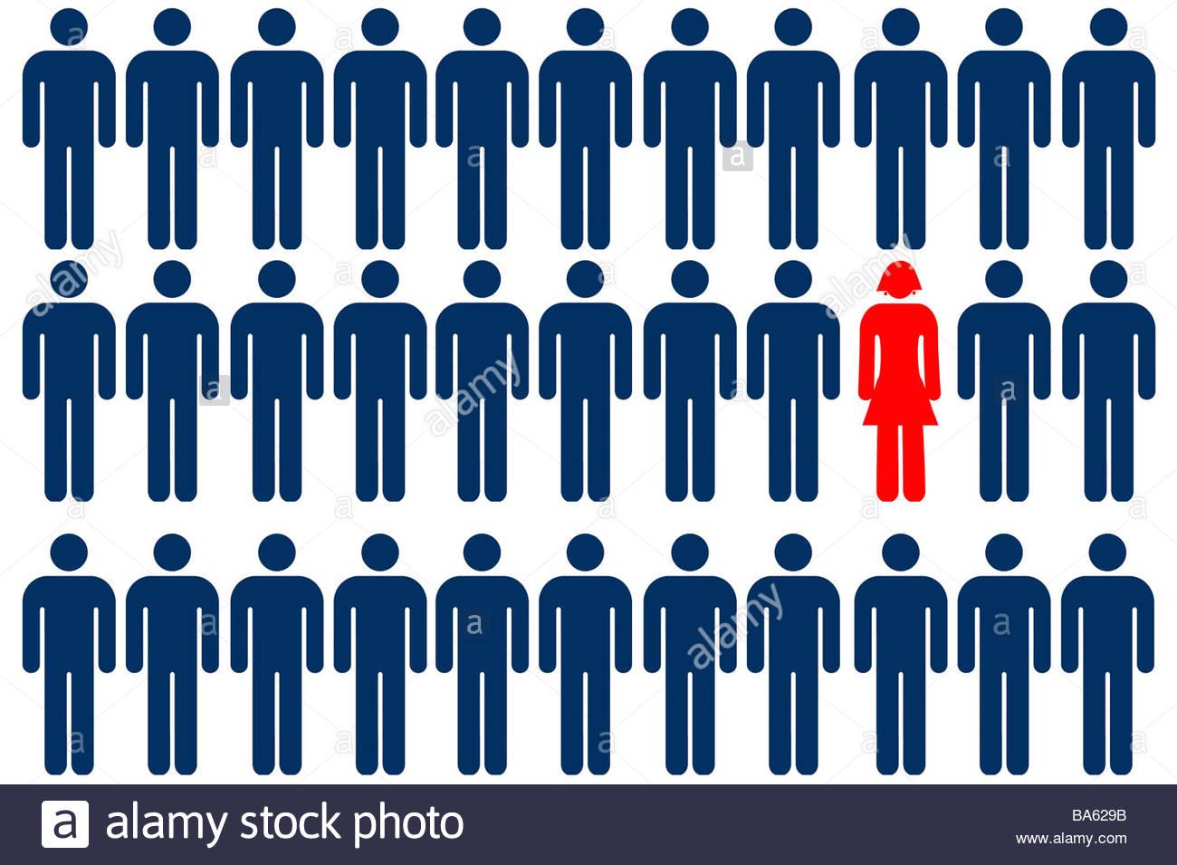 Unica persona femmina simbolo tra gruppo di persona maschile simboli Immagini Stock