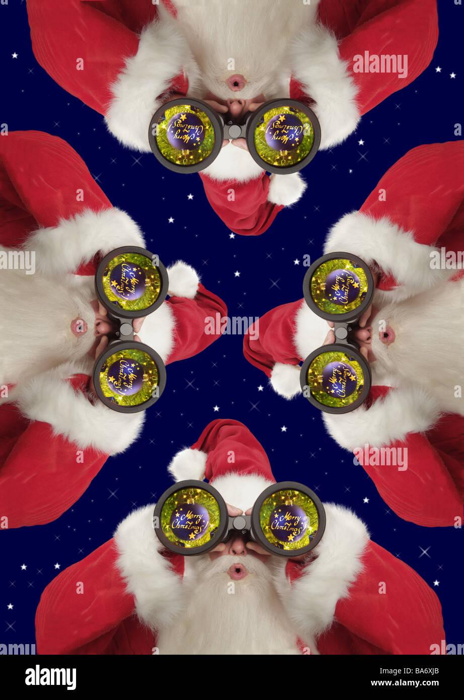 Buon Natale Particolare.Christmas Santa Claus Binocolo Sono Stupito Sguardo Particolare