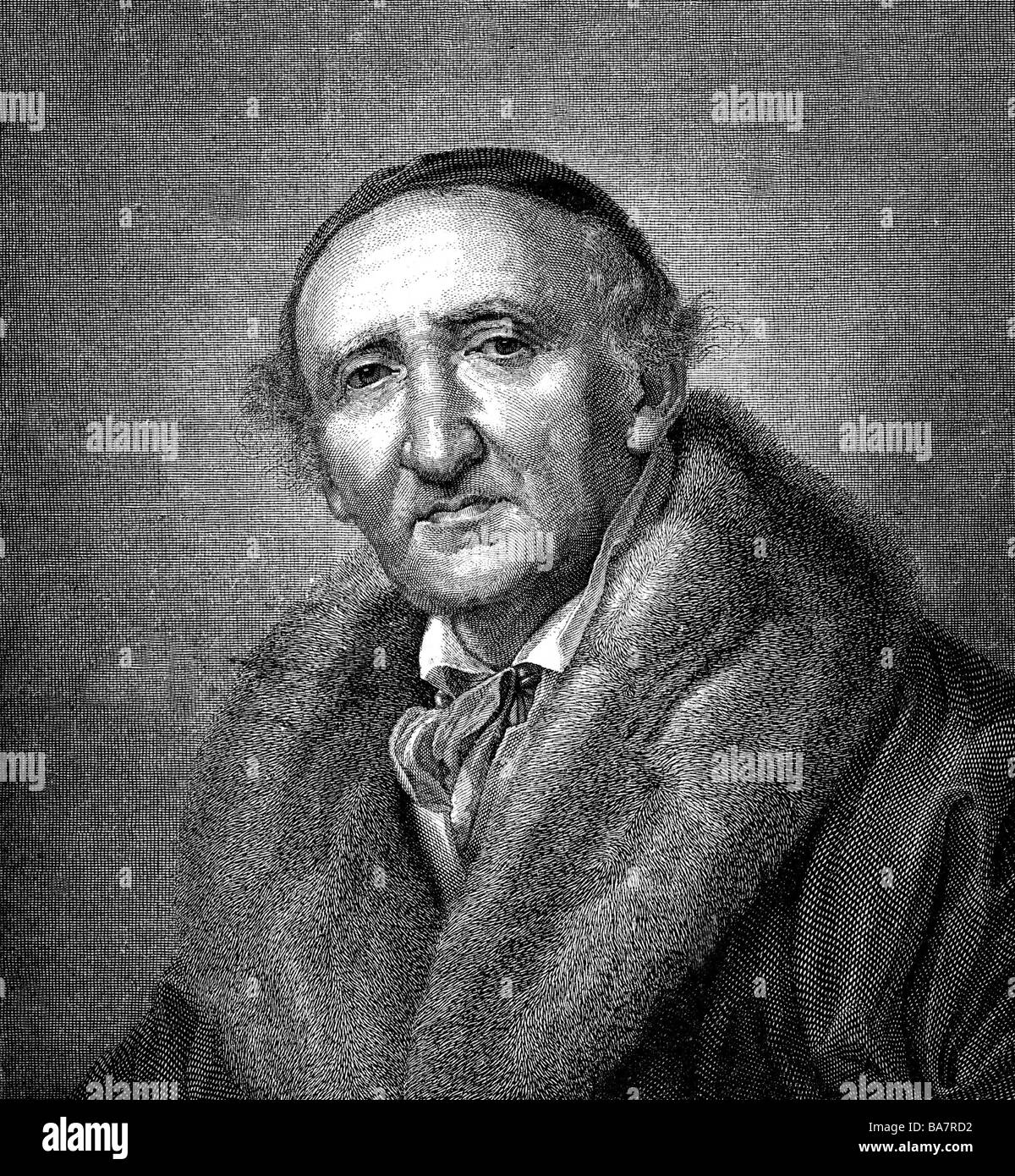 Schadow, Johann Gottfried, 20.5.1764 - 27.1.1850, scultore tedesco, ritratto, incisione in legno di H. Brei, dopo la pittura di Huebner, Foto Stock