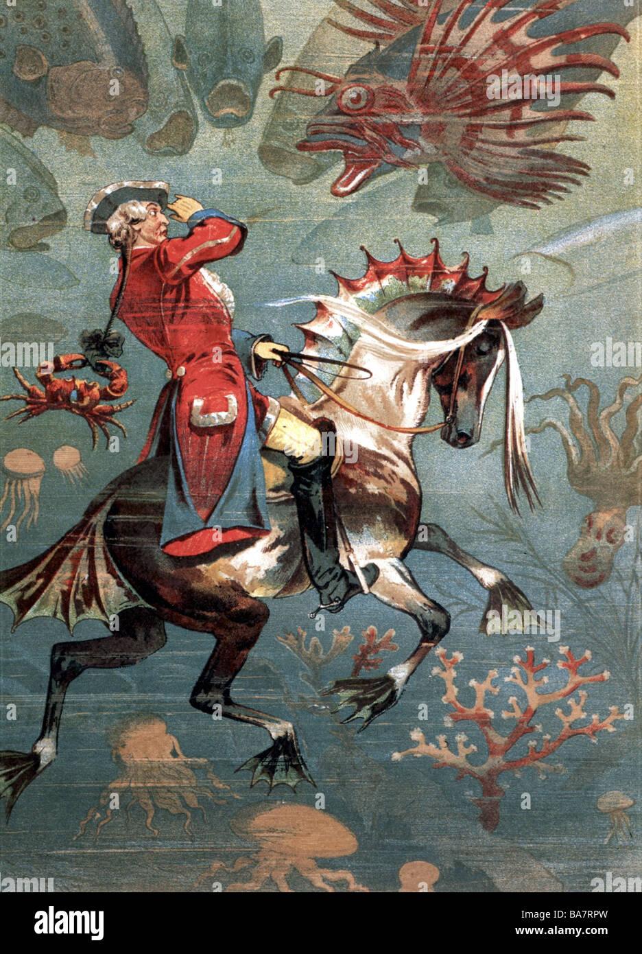 Münchhausen, barone Karl Friedrich Hieronymus, Freiherr von, 11.5.1720 - 22.2.1797, dipinto di G. F. Münchhausen in mare, nuotare sotto l'acqua sul suo cavallo con le pinne, artista del diritto d'autore non deve essere cancellata Foto Stock