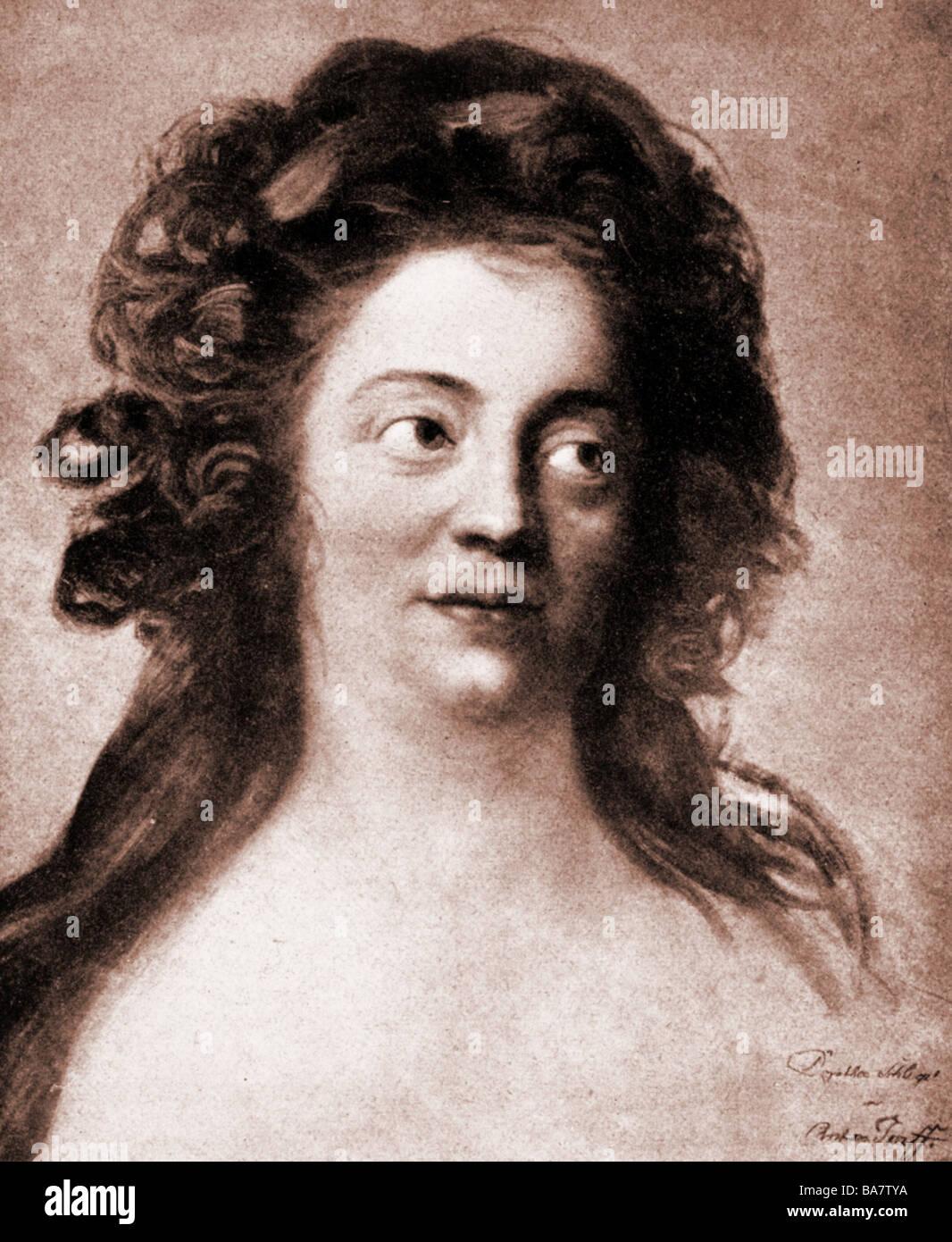 Schlegel, Dorothea Friederike, 24.10.1763 - 3.8.1839, autore/scrittore tedesco, ritratto, dopo la pittura di Anton Groff, circa 1790, Foto Stock