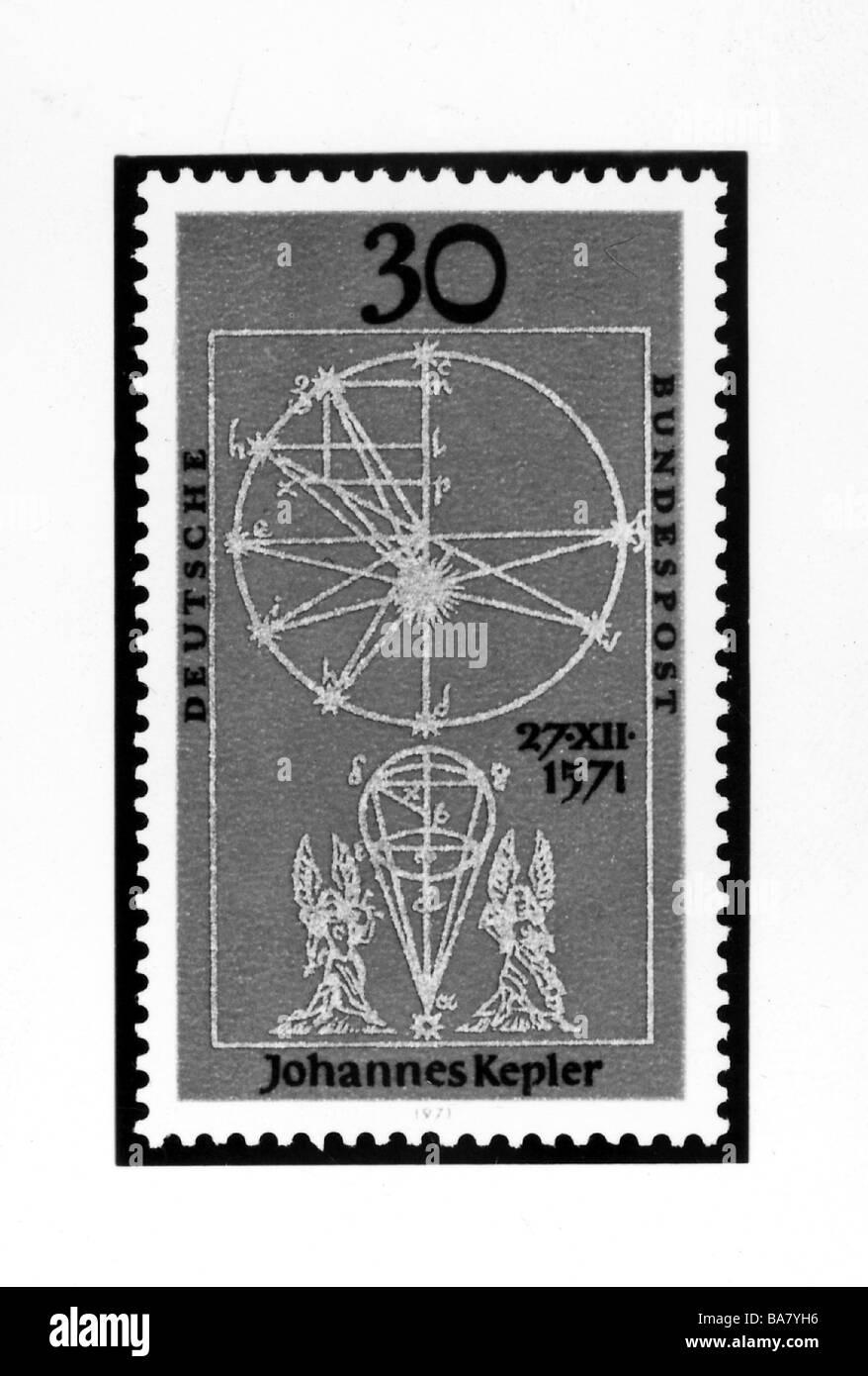 Keplero, Johannes, 27.12.1571 - 15.11.1630, astronomo tedesco, 30 pfennig timbro con illustrazioni dal suo lavoro Immagini Stock