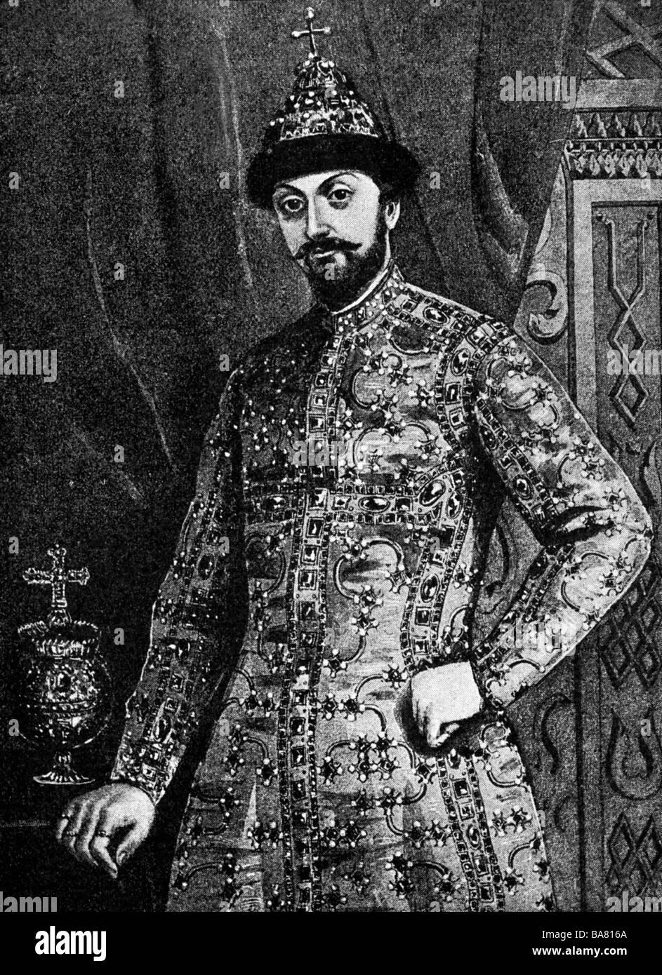 Feodor III Alexeevich, 30.5.1661 - 27.4.1682, Tsar af tutti Russia dal 29.1.1676, a mezza lunghezza e dopo la pittura presso la Galleria di Romanov, San Pietroburgo, artista del diritto d'autore non deve essere cancellata Foto Stock