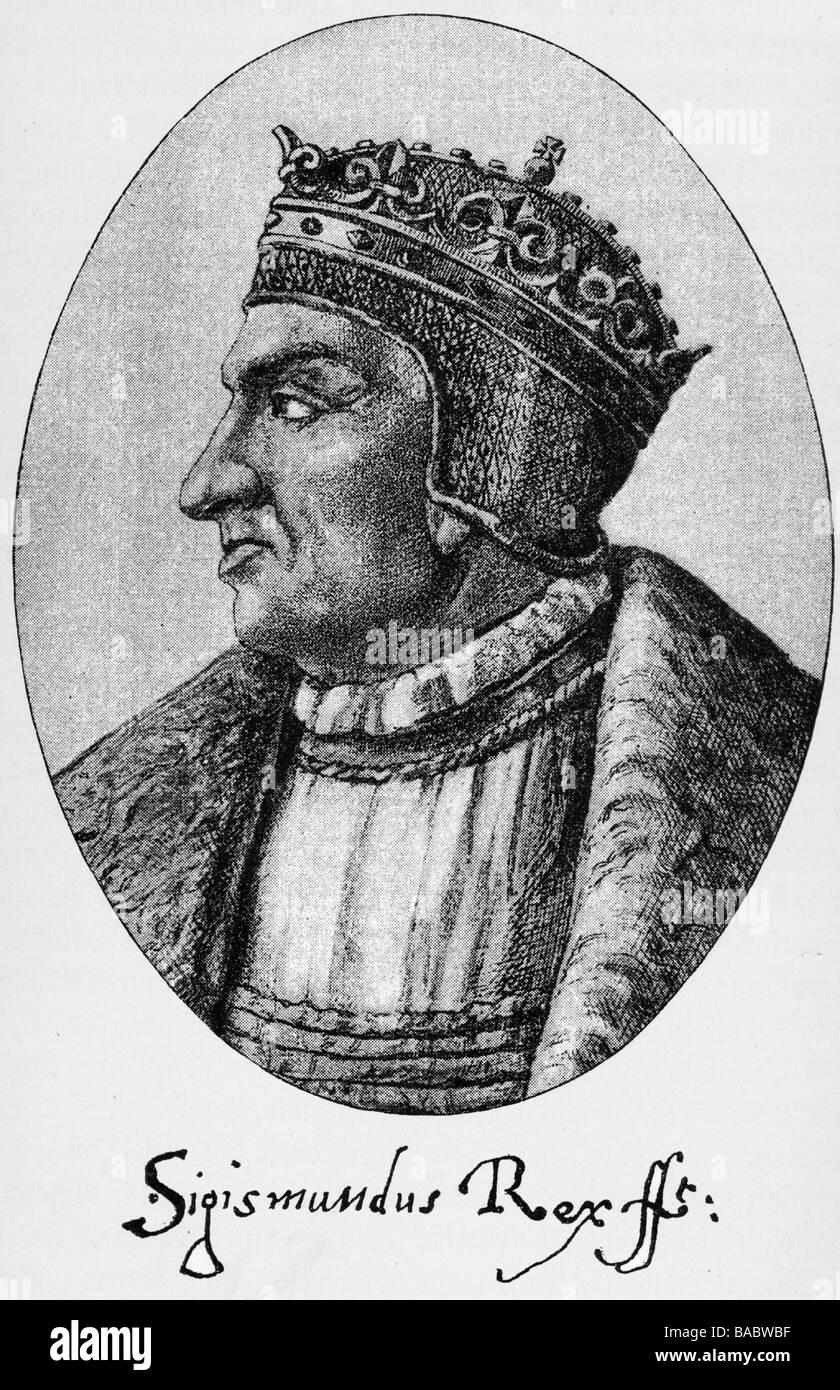 """Sigismondo I """"il Vecchio"""", 1466 - 1.4.1548, Re di Polonia 24.1.1507 - 1.4.1544, ritratto, incisione su rame, XVI secolo, artista del diritto d'autore non deve essere cancellata Foto Stock"""