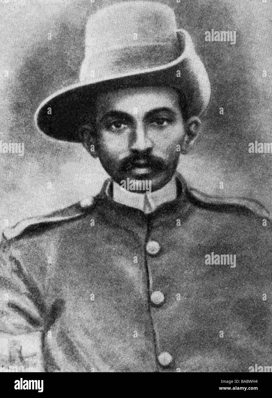 , Gandhi Mohandas Karamchand chiamato mahatma, 2.10.1869 - 30.1.1948, uomo politico indiano, ritratto, con l'ambulanza Immagini Stock
