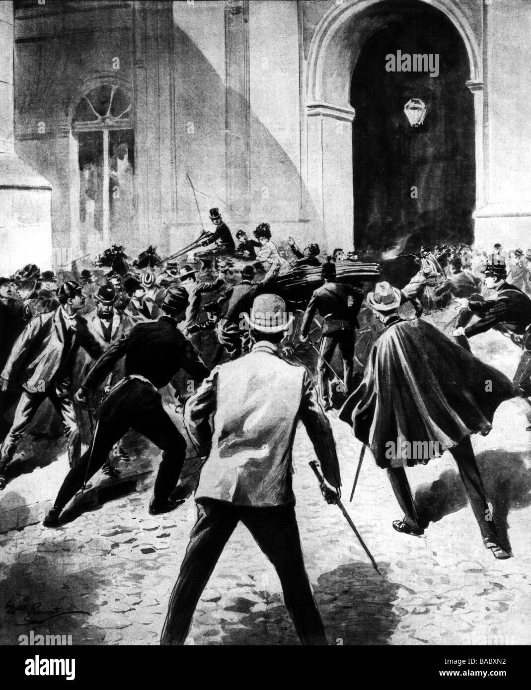 Charles, i, 28.9.1863 - 1.2.1908, Re del Portogallo 1889 - 1908, morte, assassinio a Lisbona, 1.2.1908, illustrazione Foto Stock