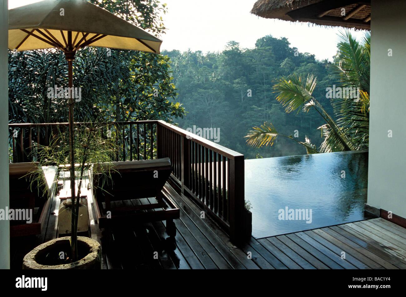 Indonesia Bali Terrazza Di Una Vista Panoramica Piscina